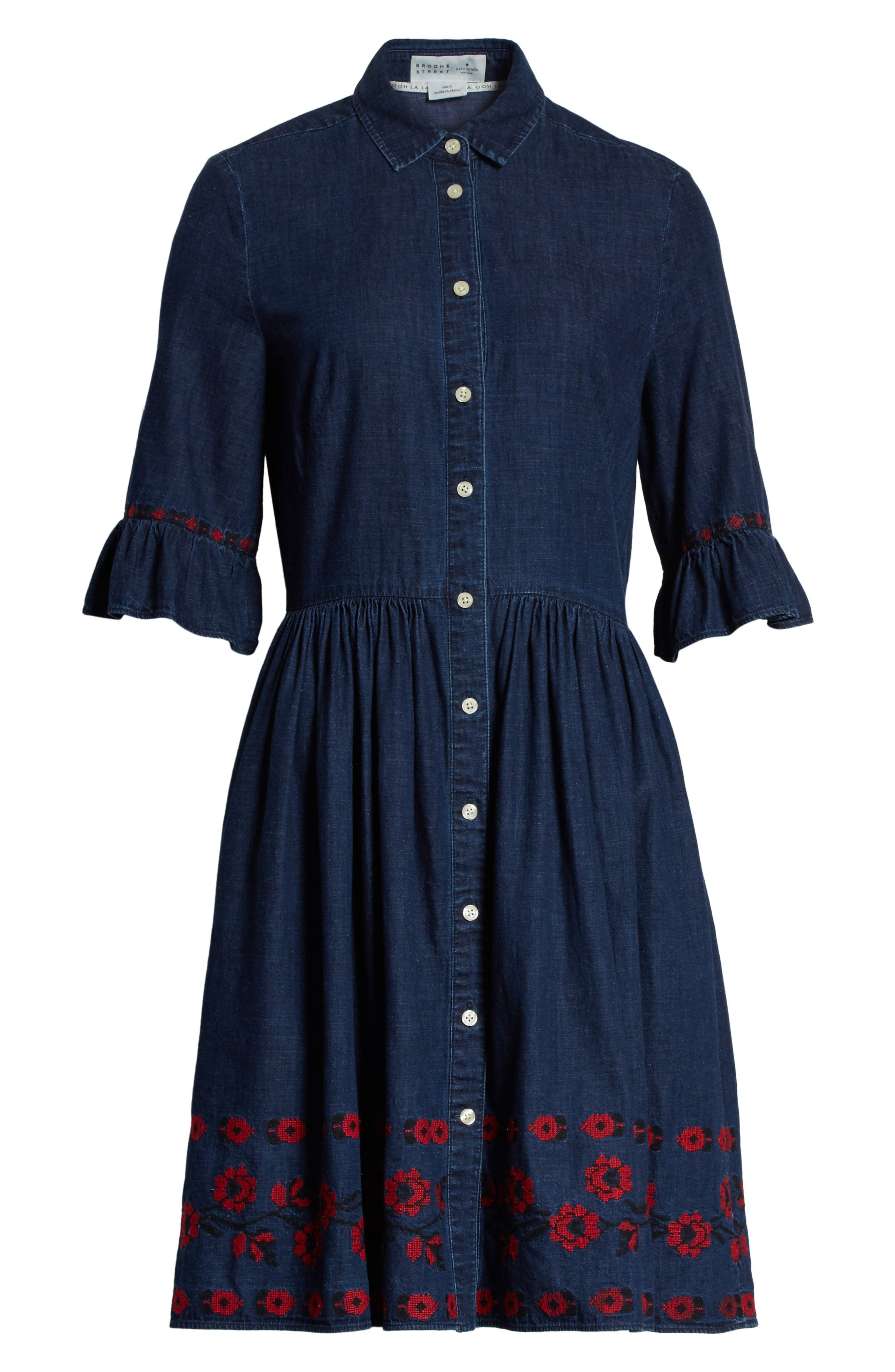 embroidered chambray shirtdress,                             Alternate thumbnail 6, color,                             429