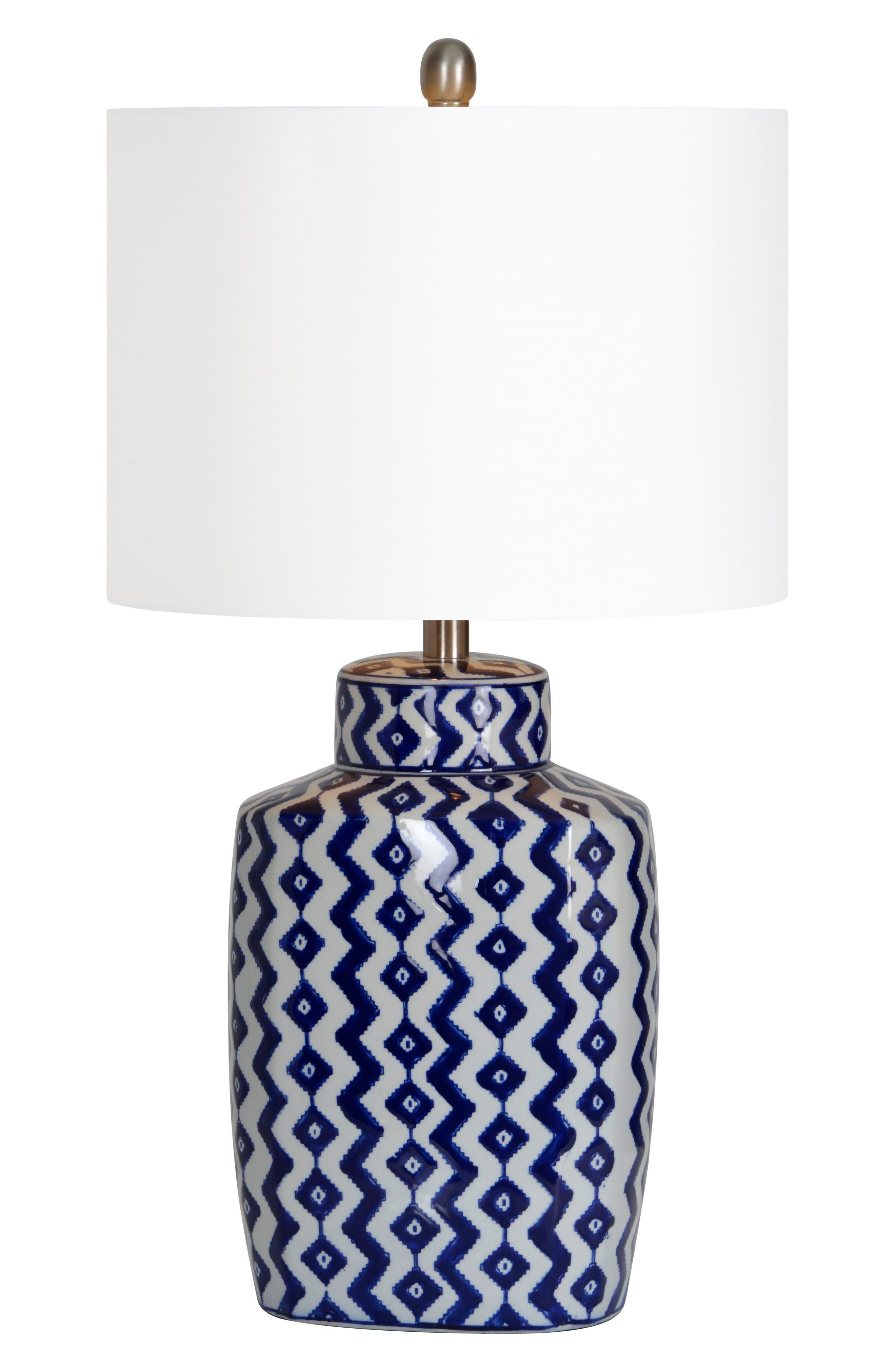 Beryl Table Lamp,                             Main thumbnail 1, color,                             BLUE/ WHITE CHEVRON/ NICKEL