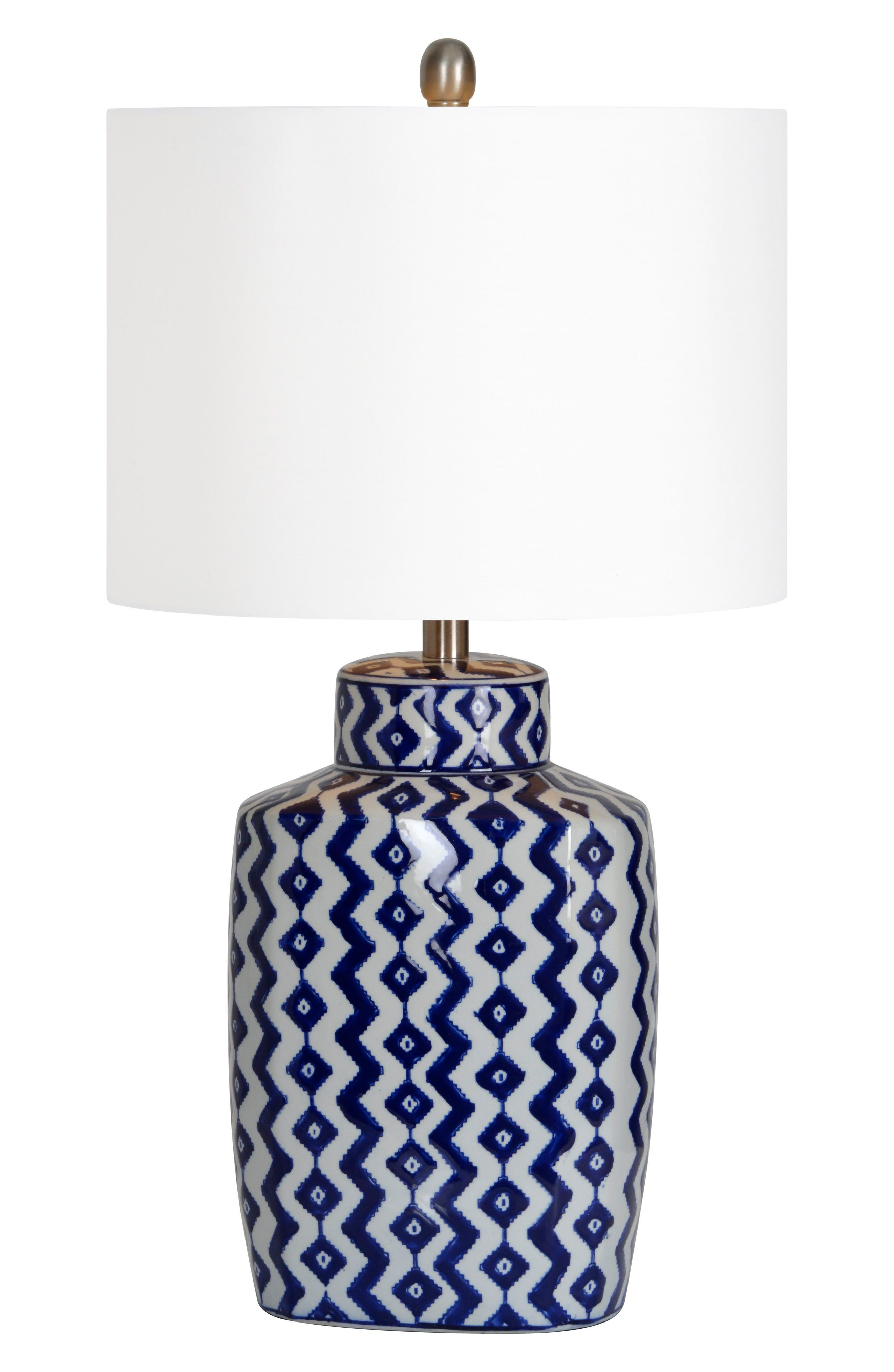 Beryl Table Lamp,                         Main,                         color, BLUE/ WHITE CHEVRON/ NICKEL