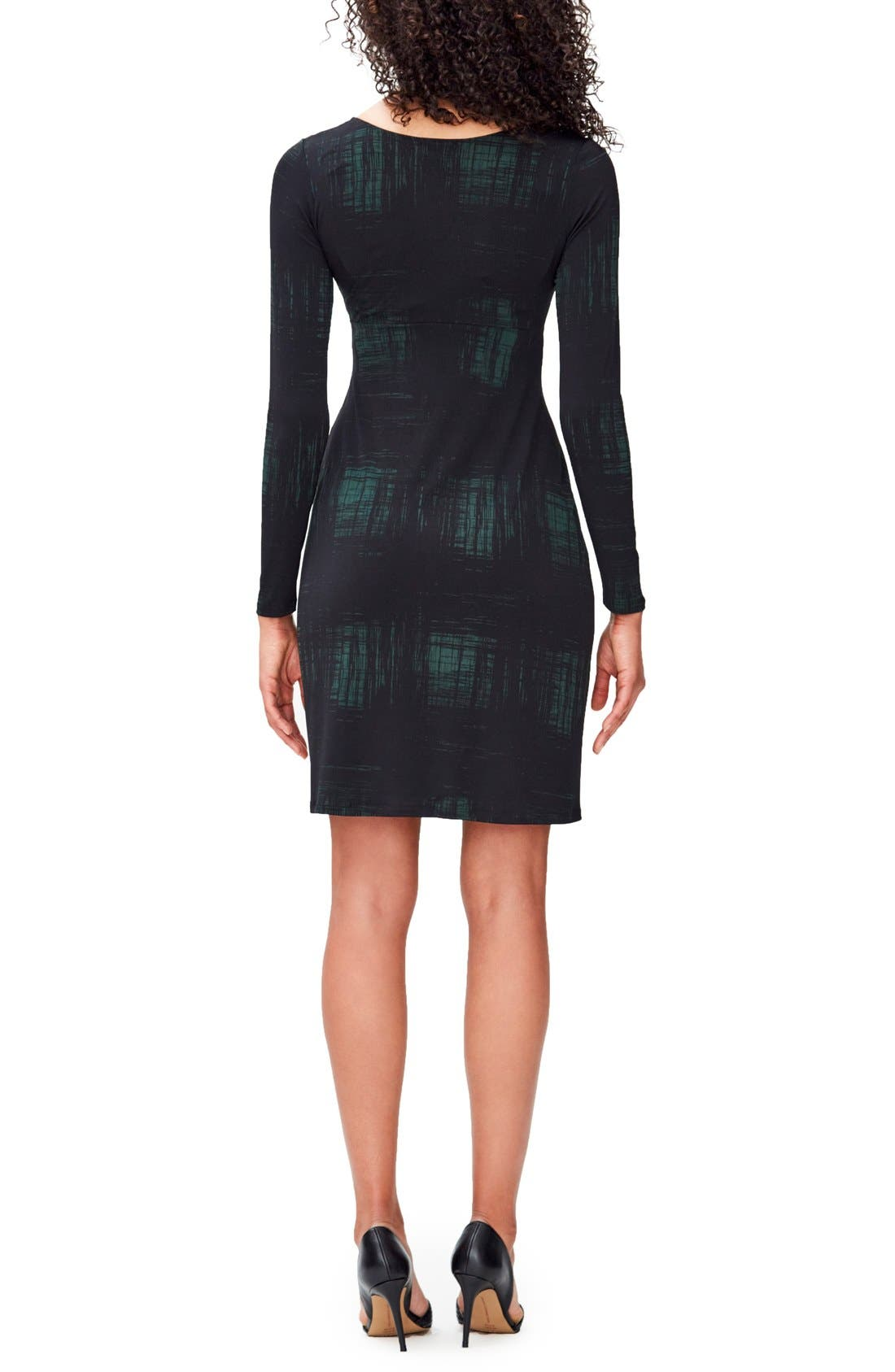 Print Knot Detail Jersey Dress,                             Alternate thumbnail 2, color,                             RENDERED WINDOWPANE HUNTER