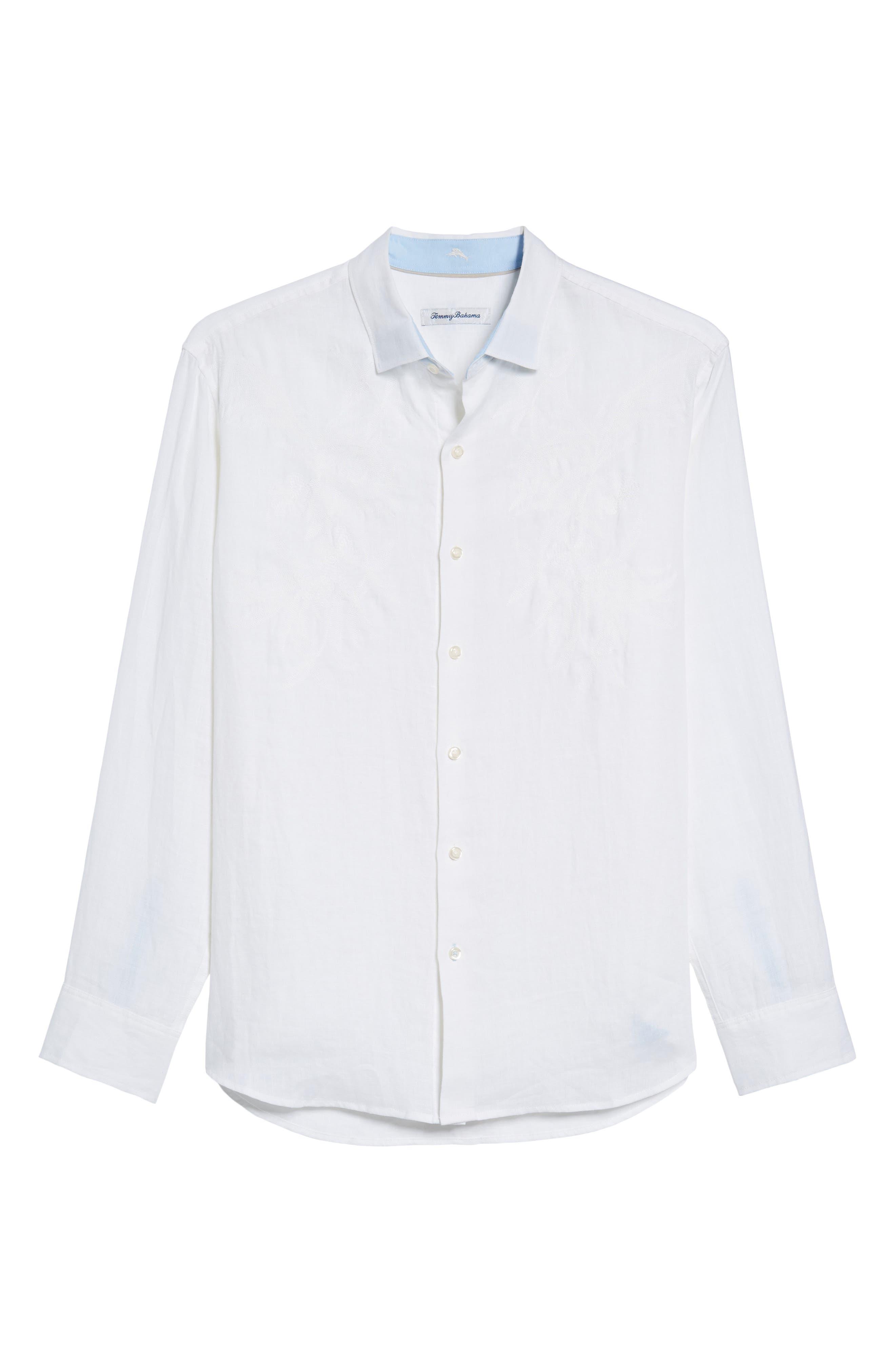 Down the Isle Regular Fit Linen Sport Shirt,                             Alternate thumbnail 6, color,                             100
