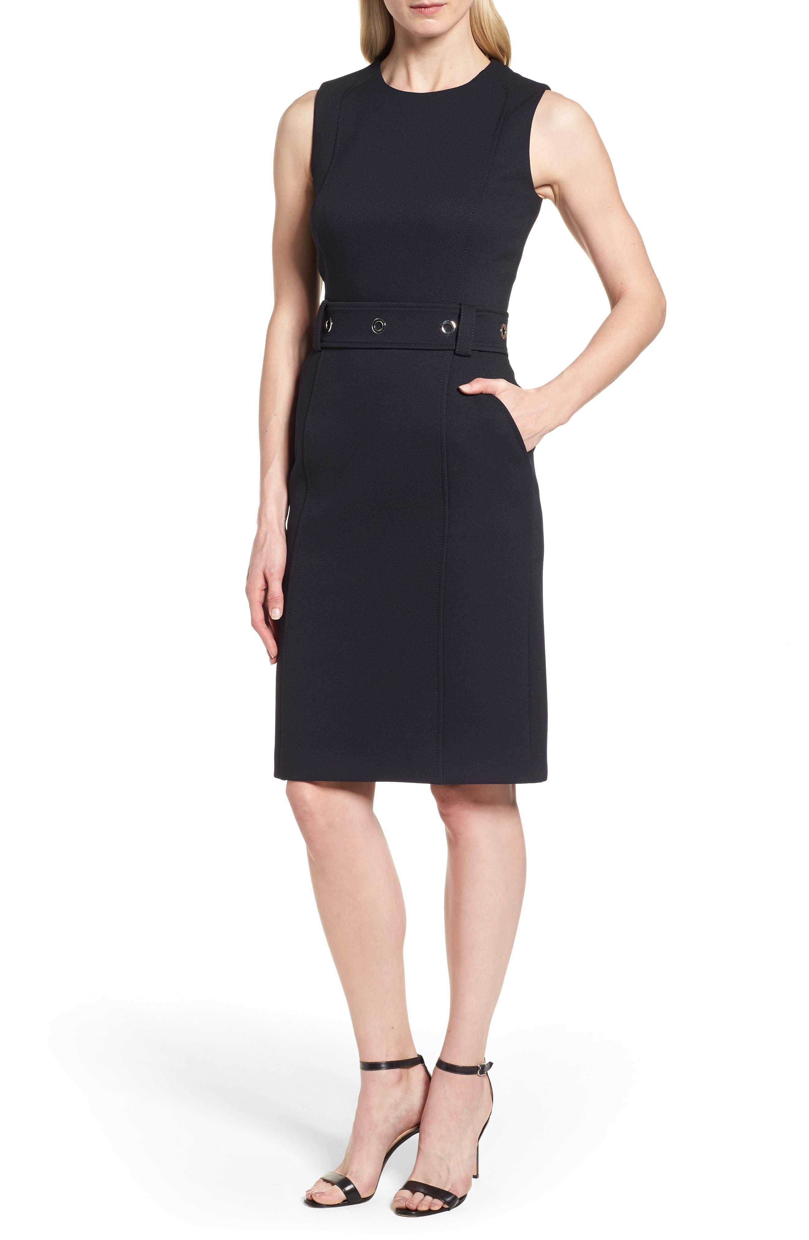 Duleama Belted Sheath Dress,                             Main thumbnail 1, color,                             480