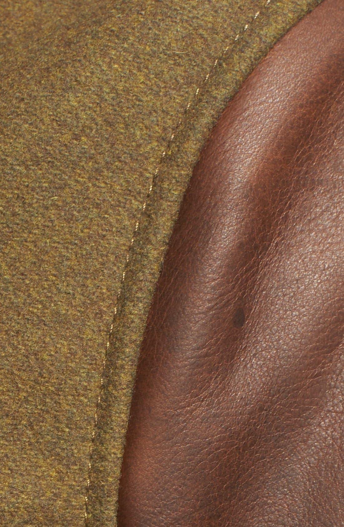 Mixed Media B-15 Flight Jacket with Genuine Shearling Collar,                             Alternate thumbnail 2, color,