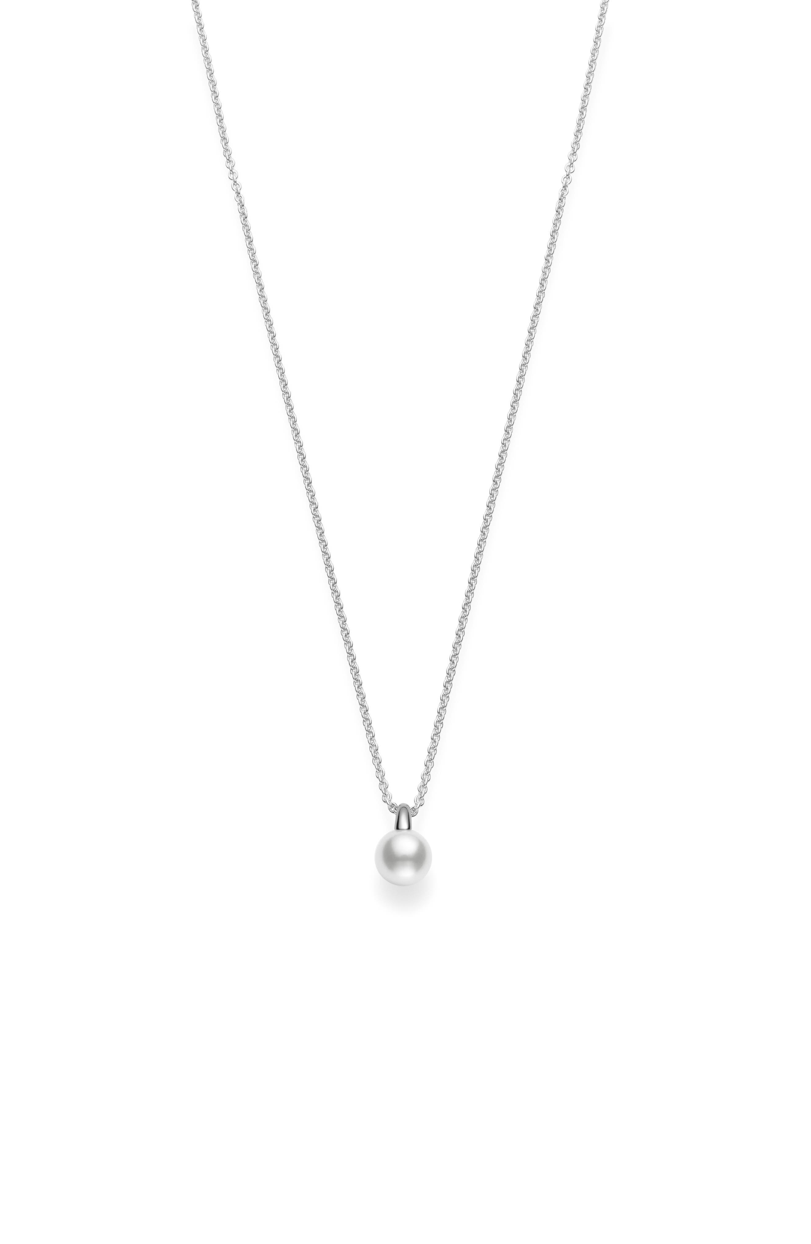 MIKIMOTO Cherish Akoya Cultured Pearl Pendant Necklace in White Gold