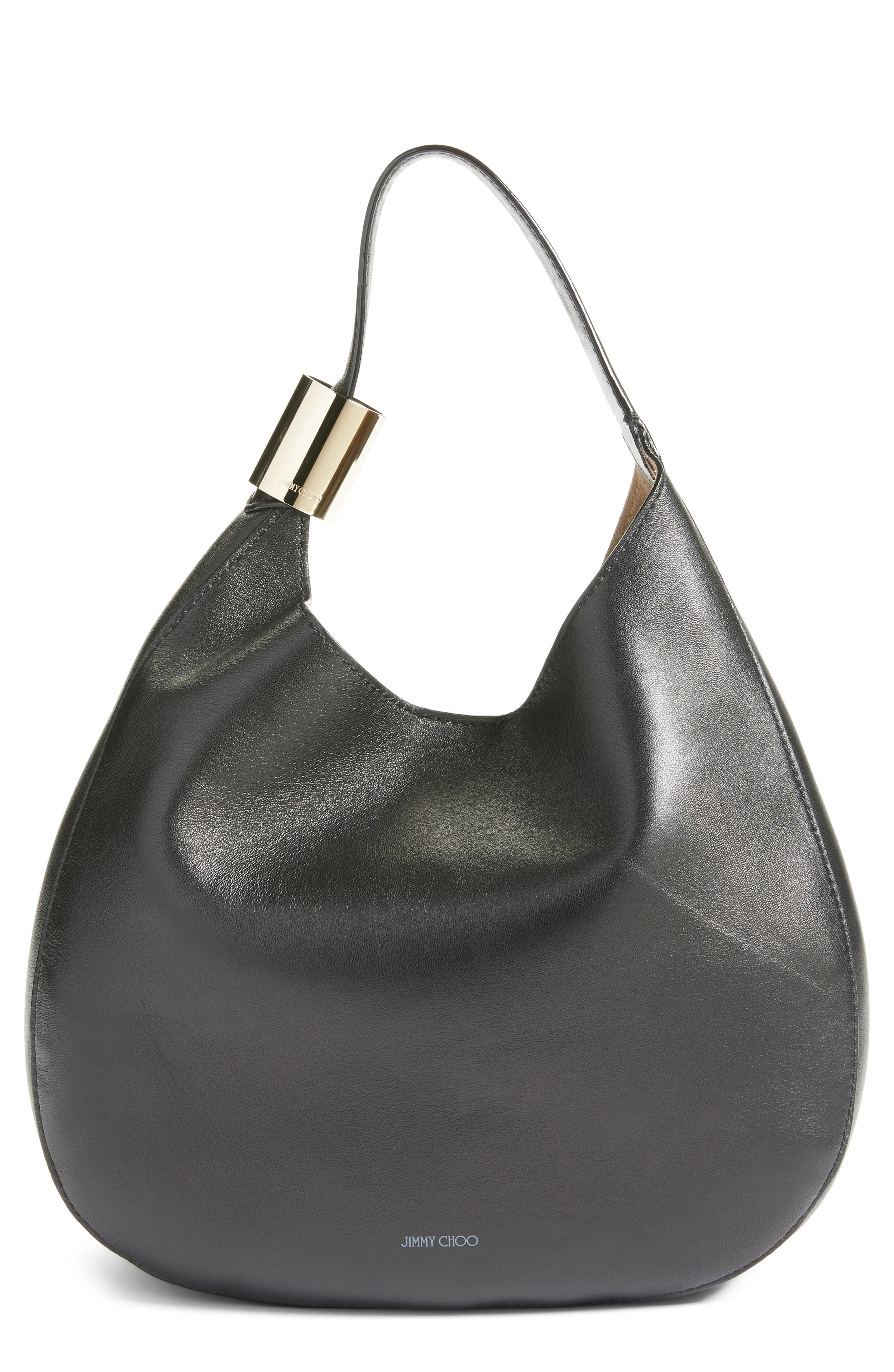 Stevie Lambskin Leather Hobo,                         Main,                         color, BLACK
