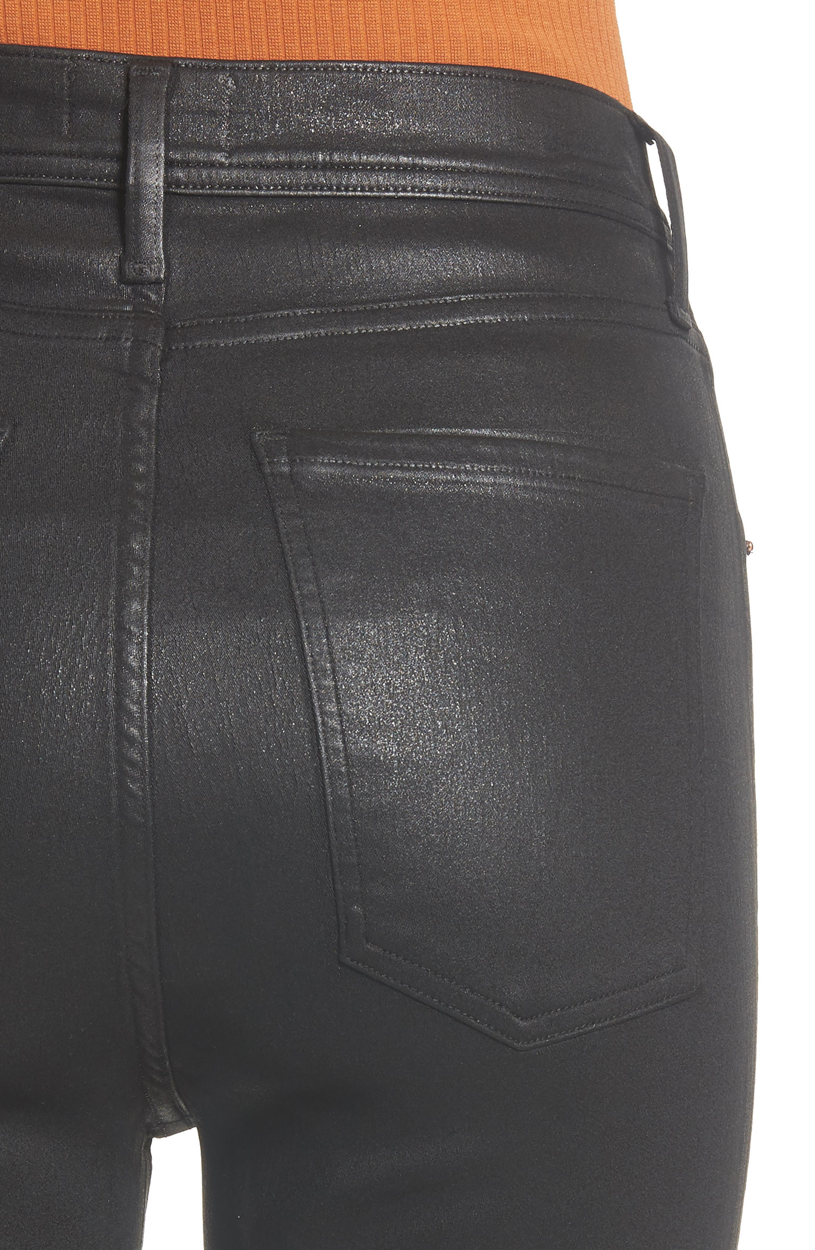 Roxanne Faux Leather High Waist Ankle Skinny Pants,                             Alternate thumbnail 4, color,                             007