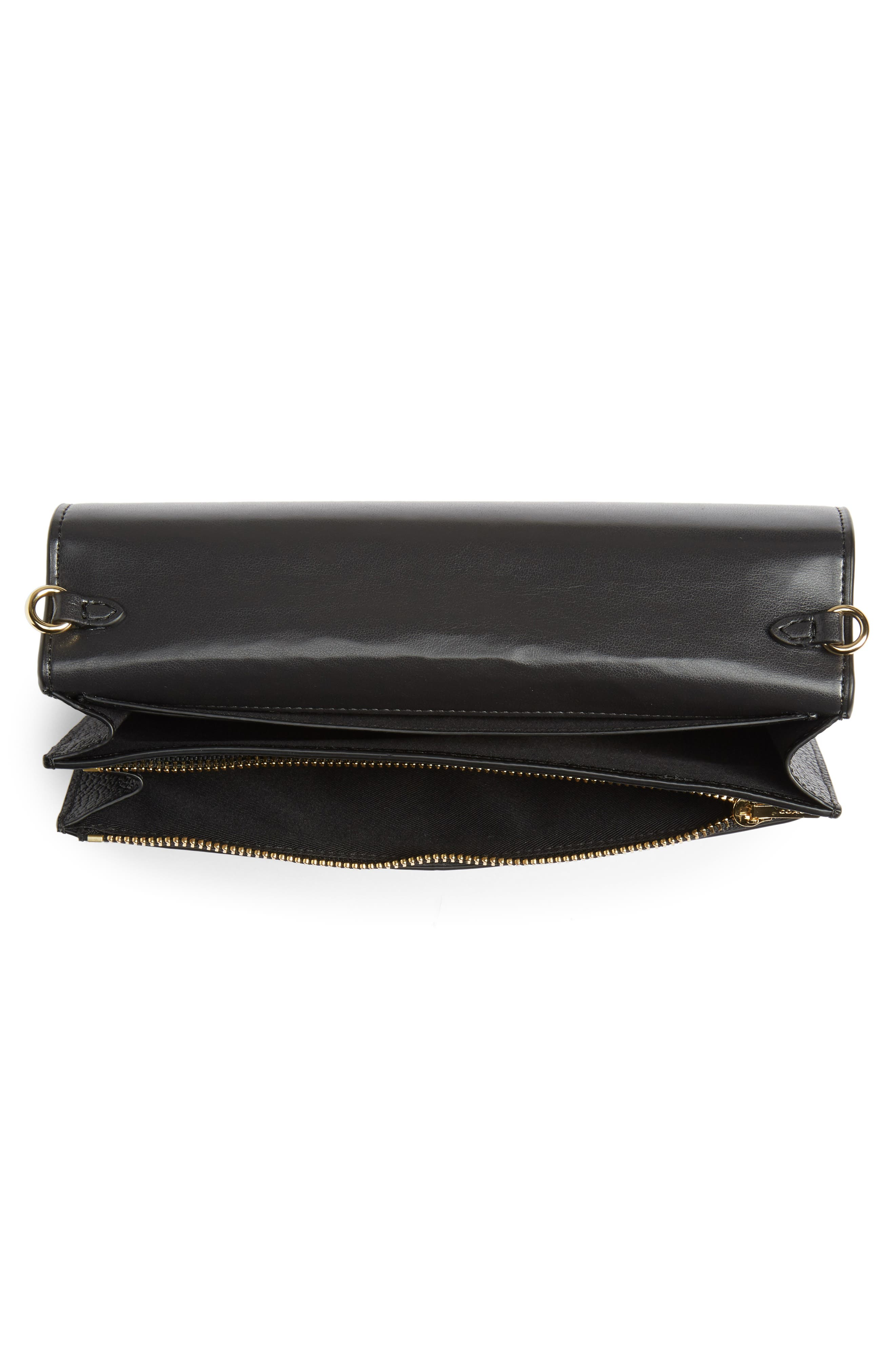 COACH,                             Foldover Calfskin Leather Convertible Clutch,                             Alternate thumbnail 4, color,                             LI/ BLACK