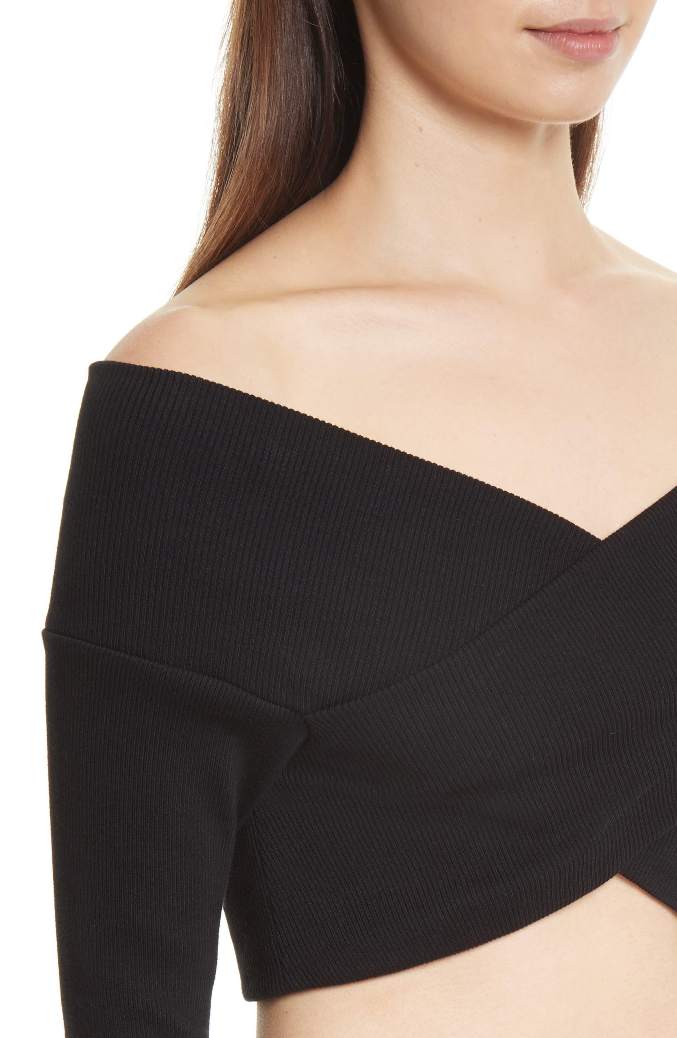 Jersey Off the Shoulder Crop Top,                             Alternate thumbnail 4, color,                             001