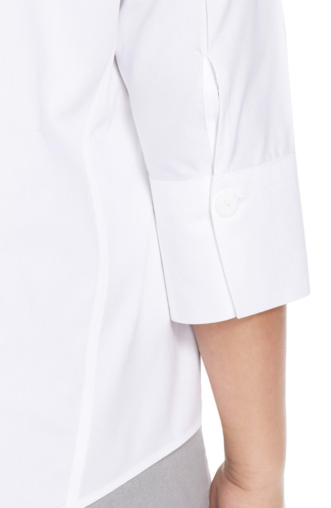 Paige Non-Iron Cotton Shirt,                             Alternate thumbnail 3, color,                             WHITE