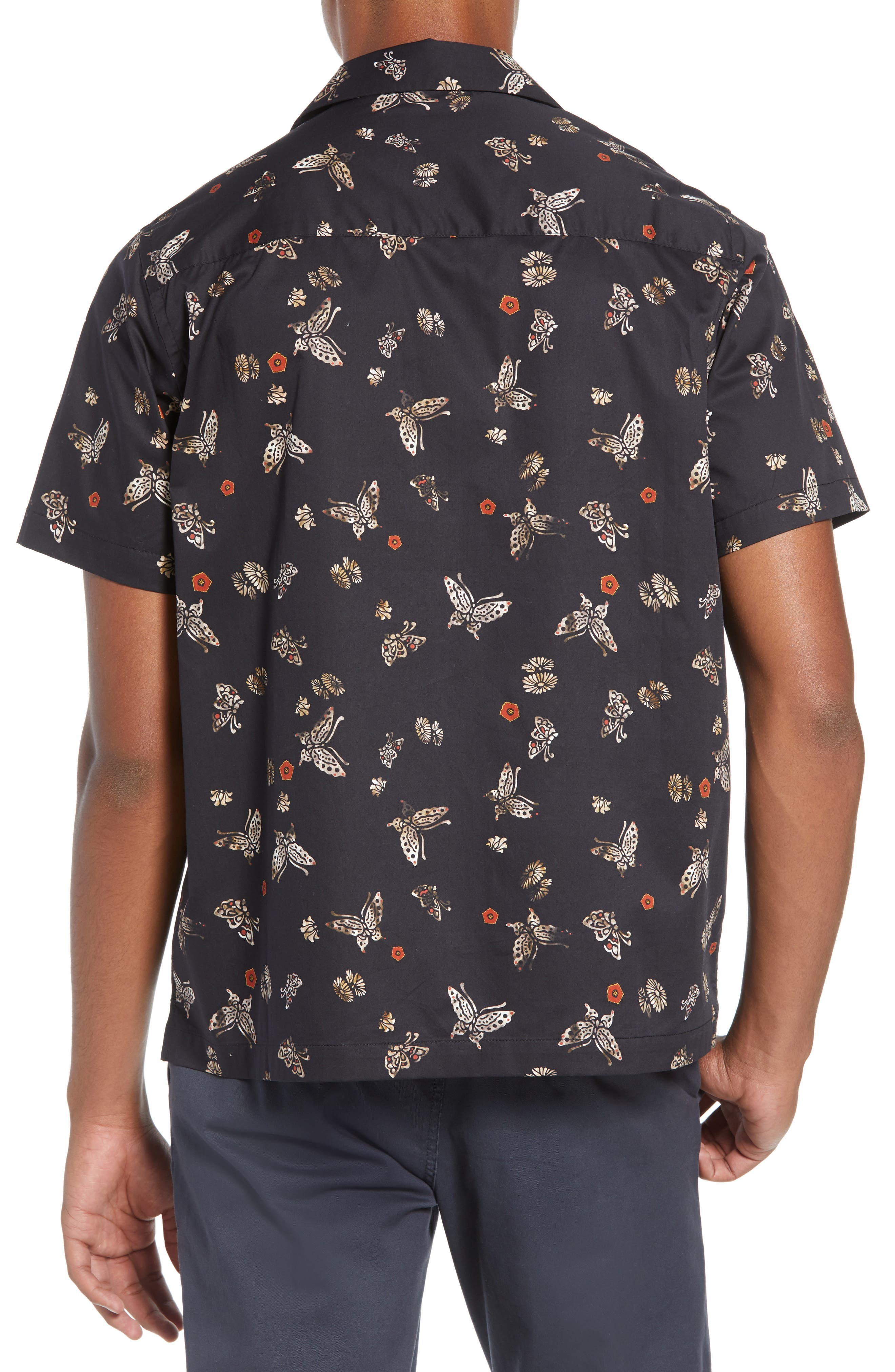Canty Lacquer Butterfly Camp Shirt,                             Alternate thumbnail 3, color,                             LACQUER BUTTERFLY PRINT