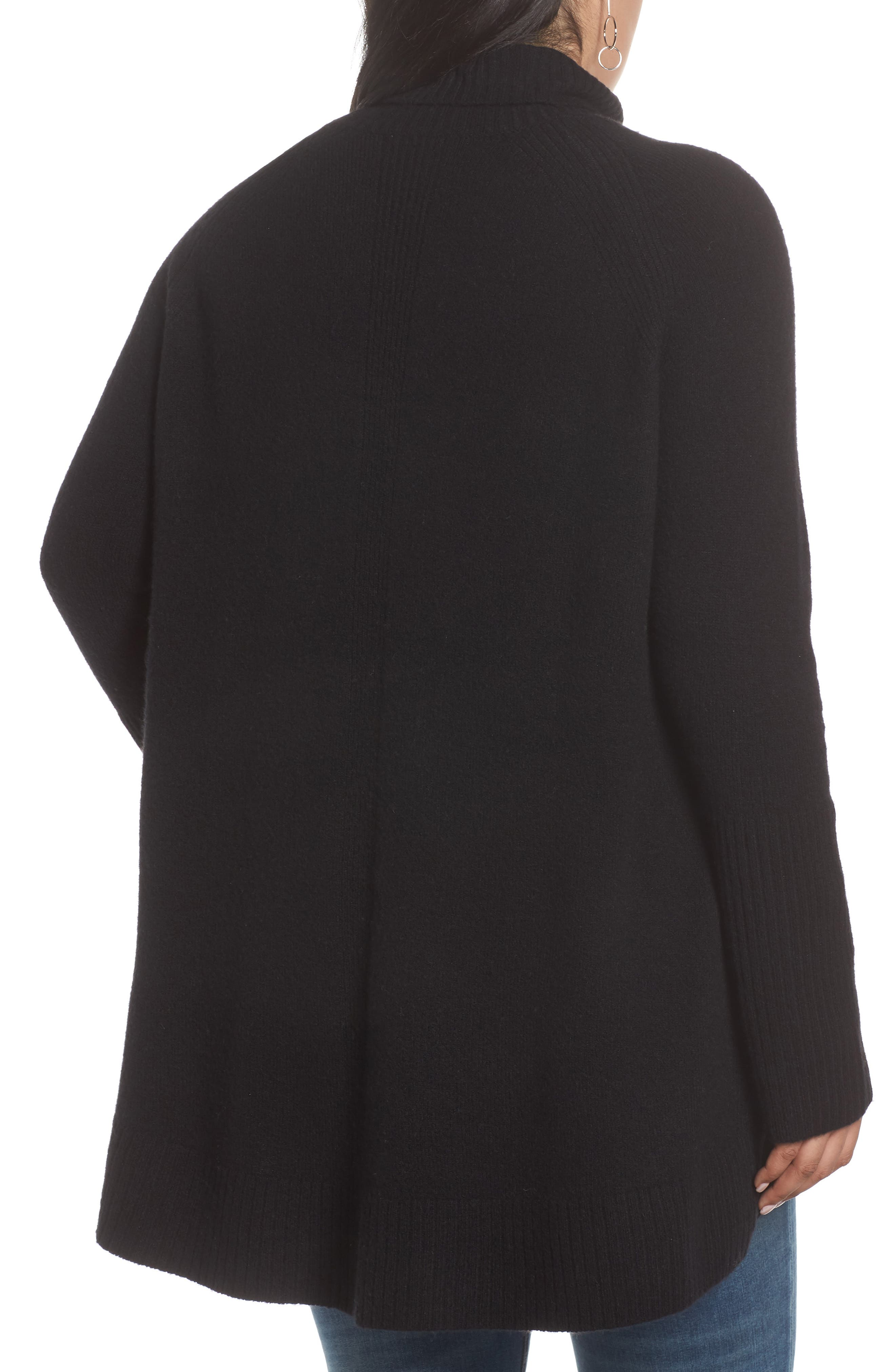 High Low Oversize Wool Blend Sweater,                             Alternate thumbnail 8, color,                             BLACK