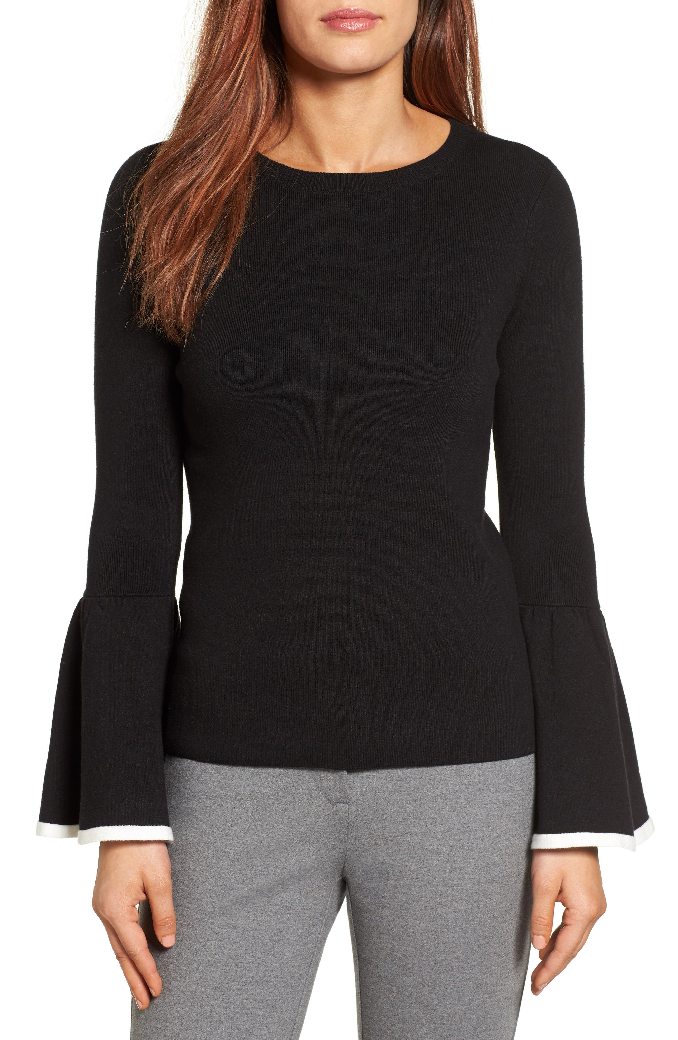 Flare Sleeve Sweater,                             Main thumbnail 1, color,                             001
