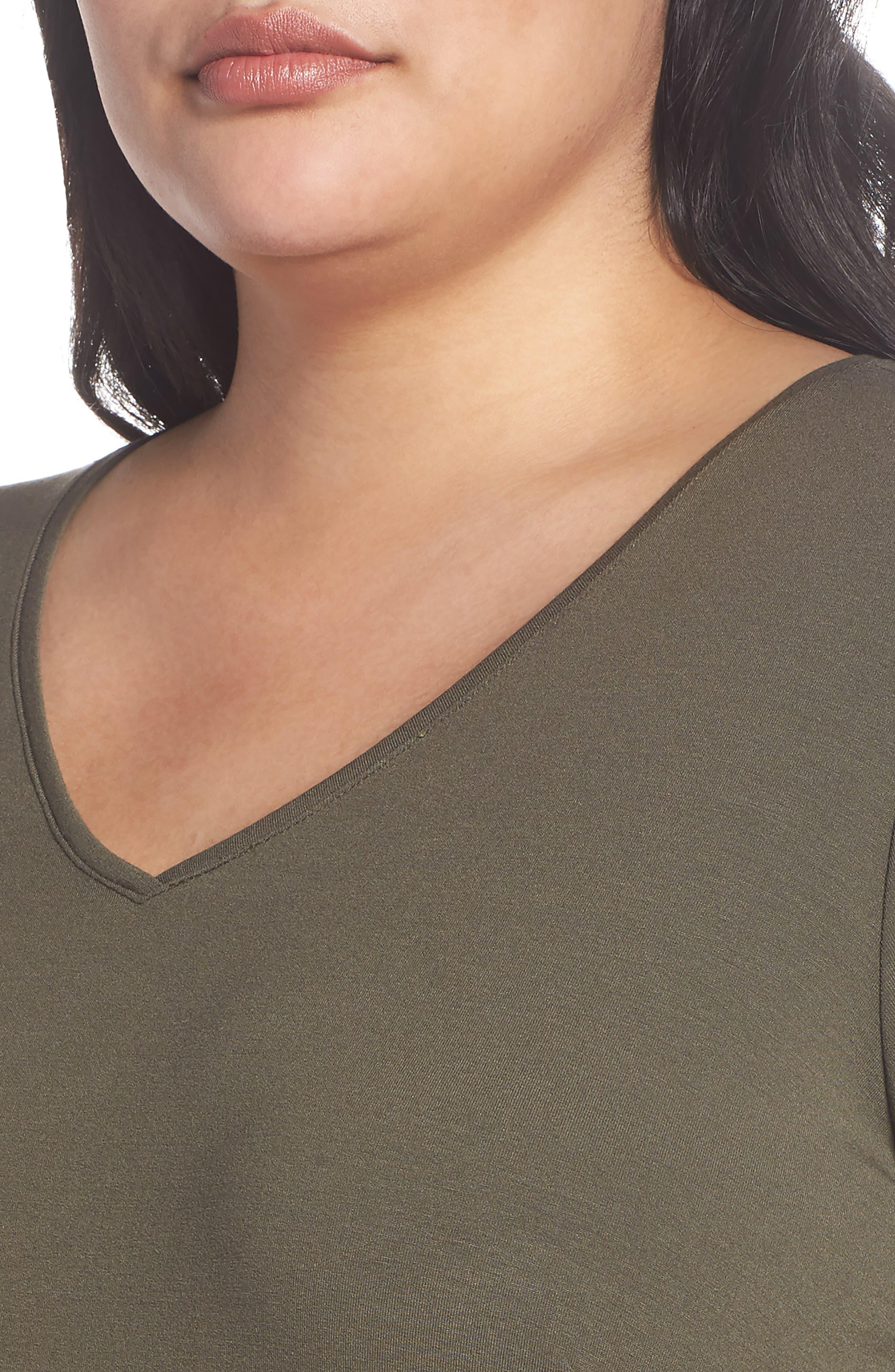 V-Neck Stretch Jersey Shift Dress,                             Alternate thumbnail 18, color,