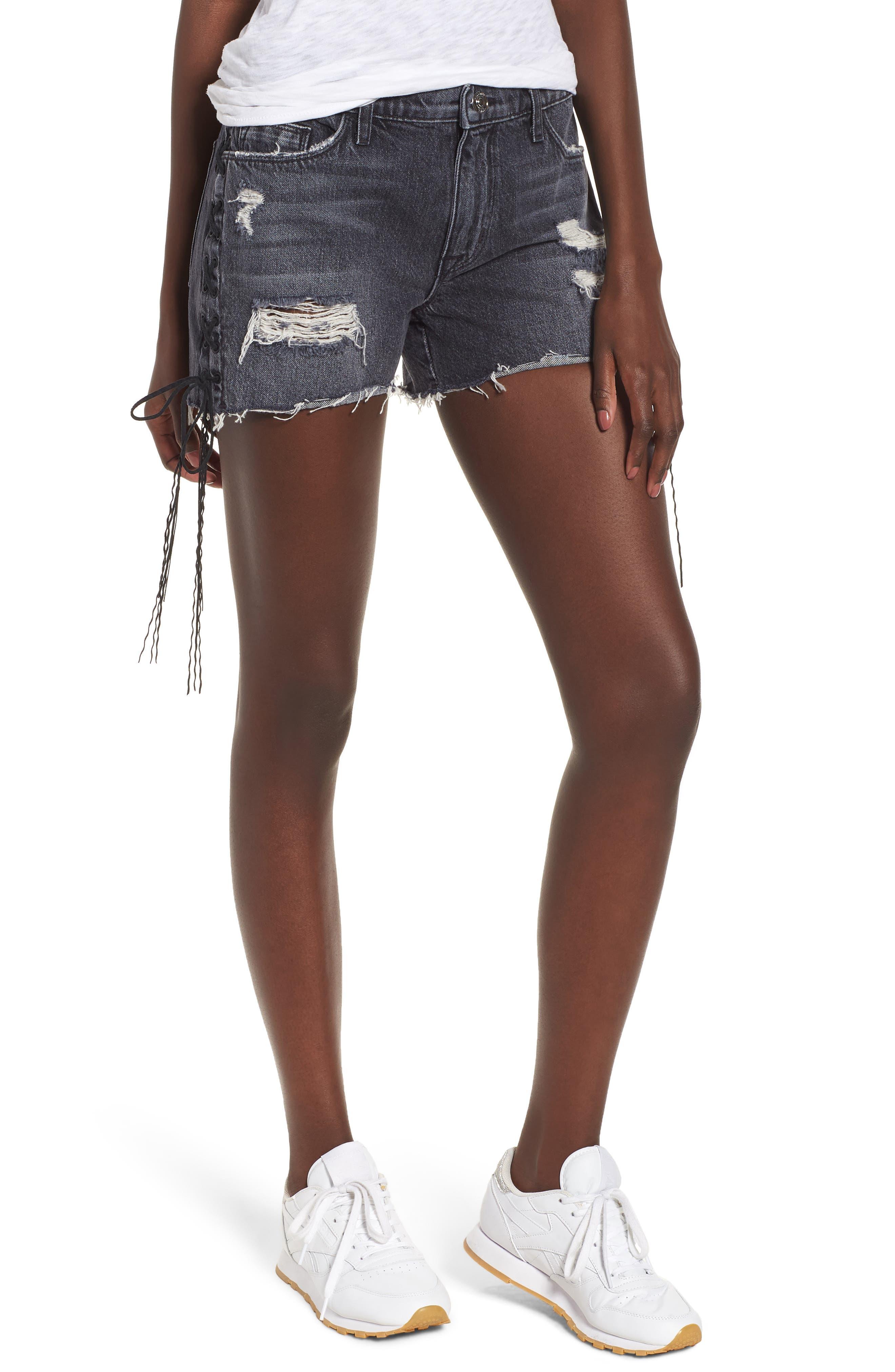 Sade Lace-Up Cutoff Denim Shorts,                         Main,                         color, 001