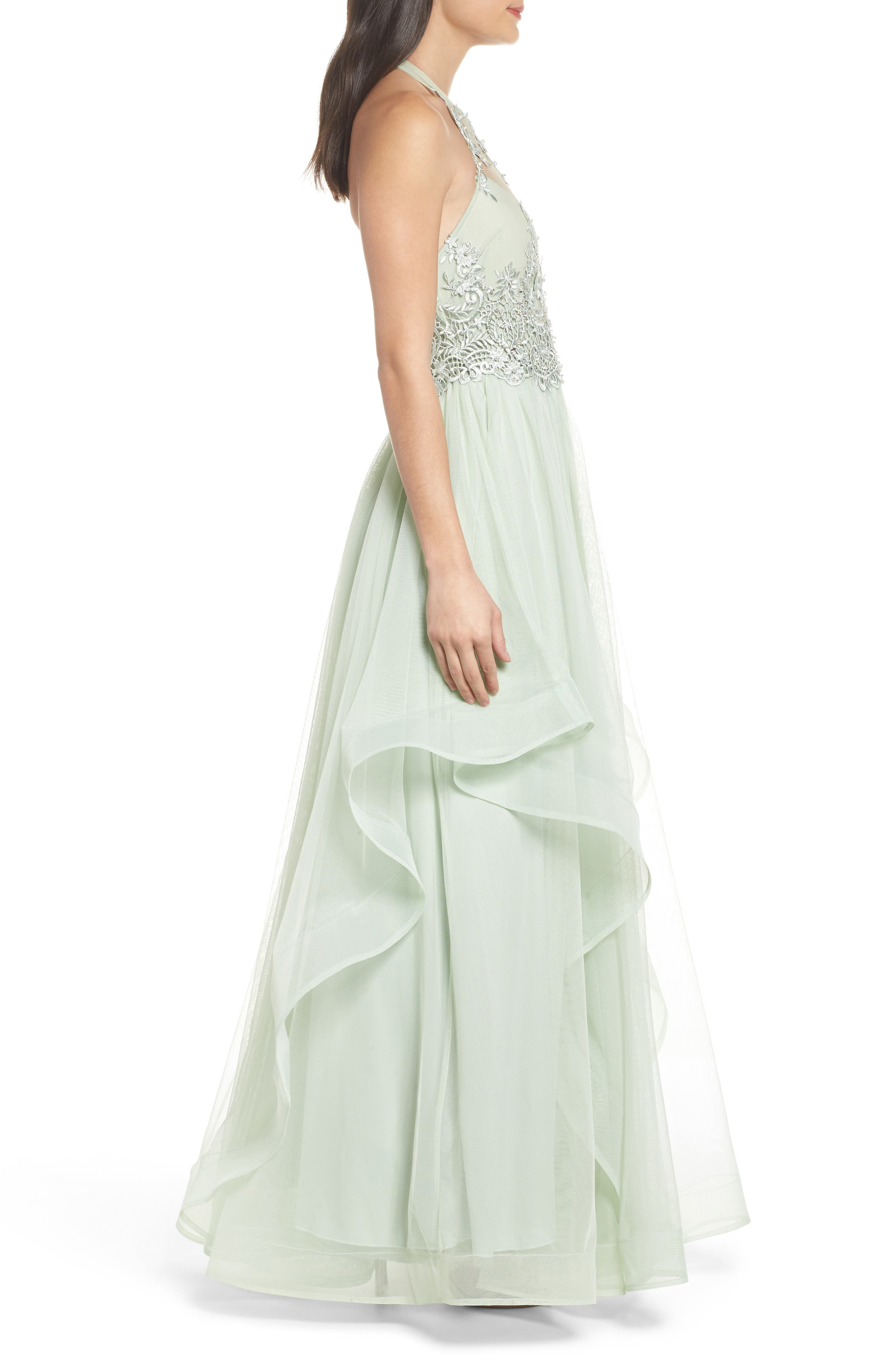 Embroidered Halter Gown,                             Alternate thumbnail 3, color,                             SAGE