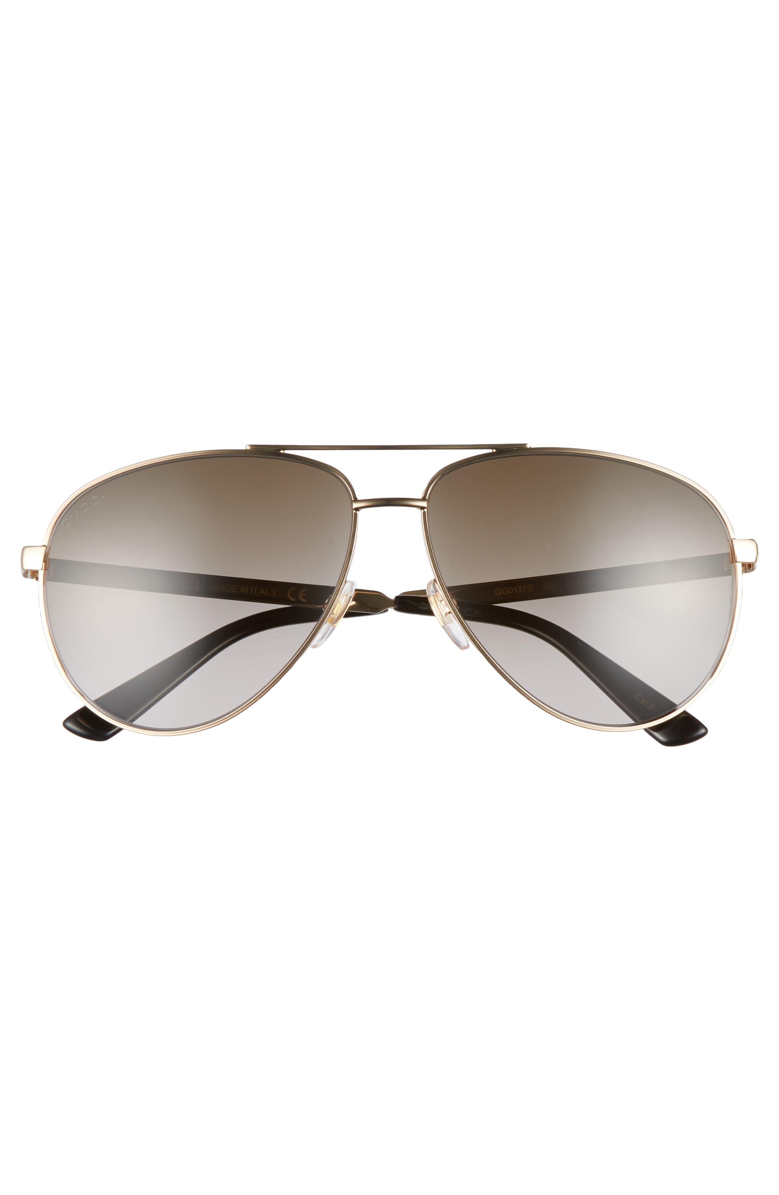 61mm Aviator Sunglasses,                             Alternate thumbnail 2, color,                             GOLD/BROWN