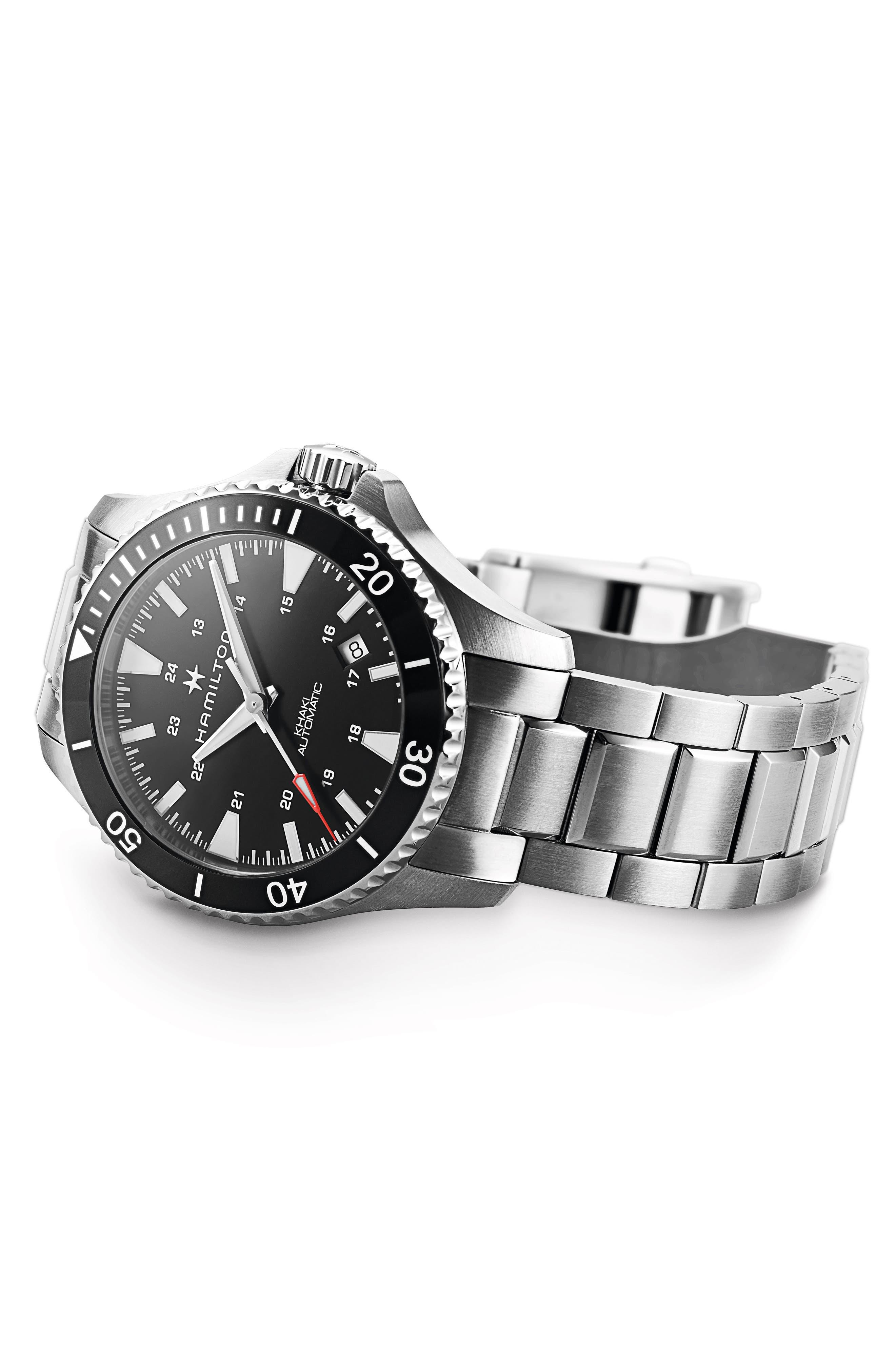 Khaki Automatic Bracelet Watch, 40mm,                             Alternate thumbnail 5, color,                             SILVER/ BLACK/ SILVER