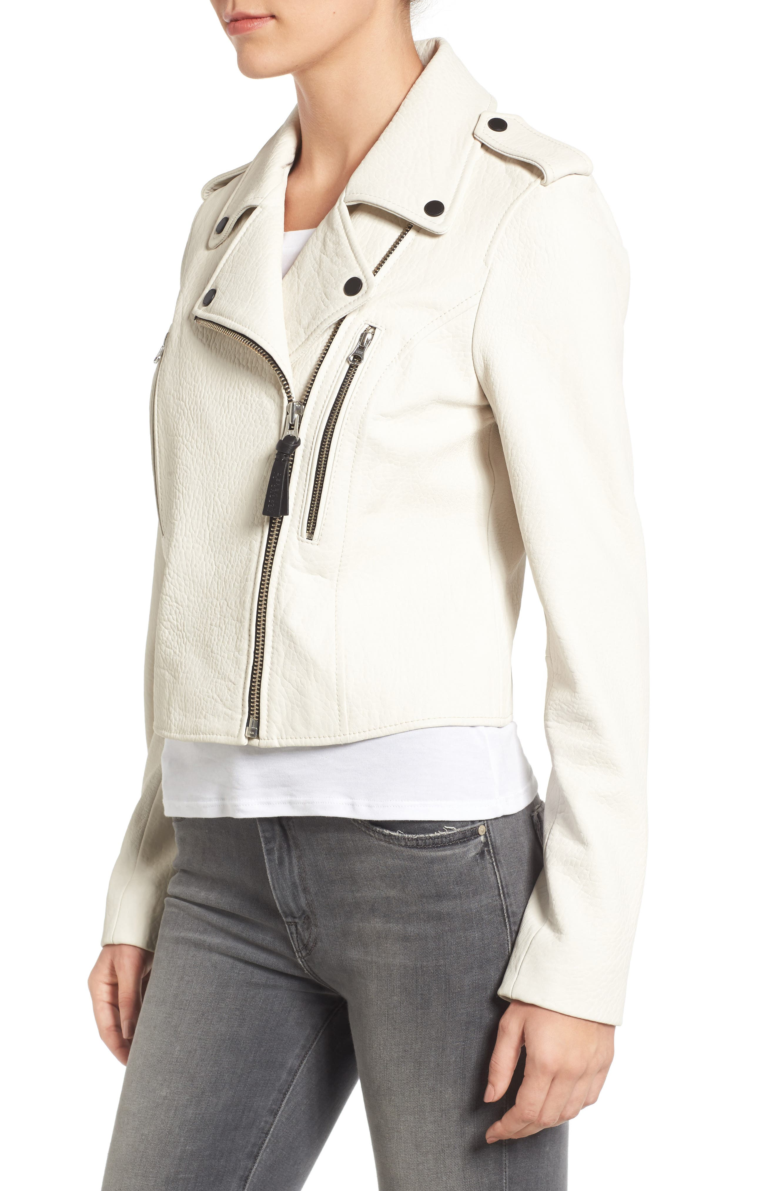 Leather Moto Jacket,                             Alternate thumbnail 3, color,                             101