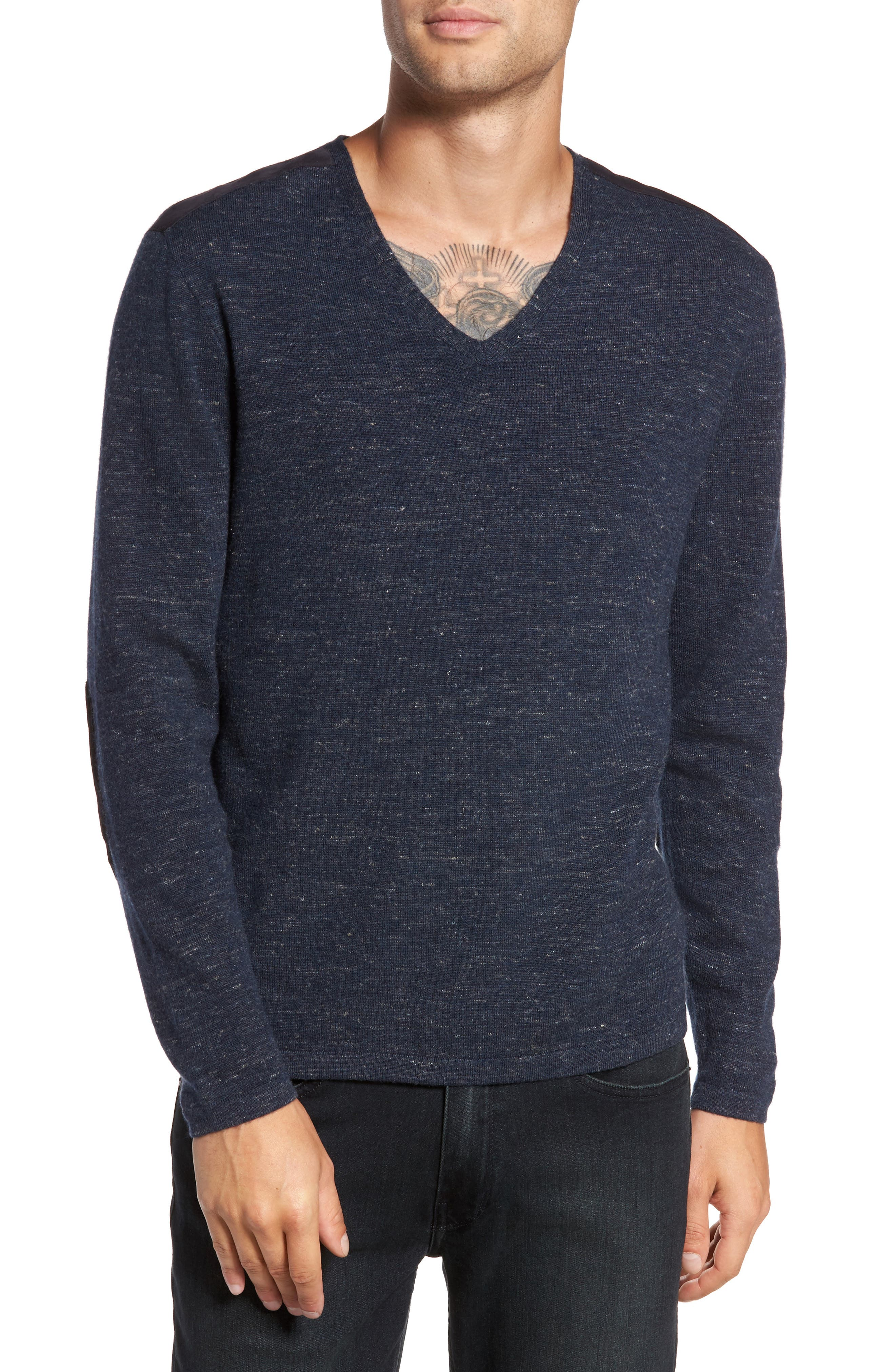 Long Sleeve V-Neck Sweater,                             Main thumbnail 2, color,