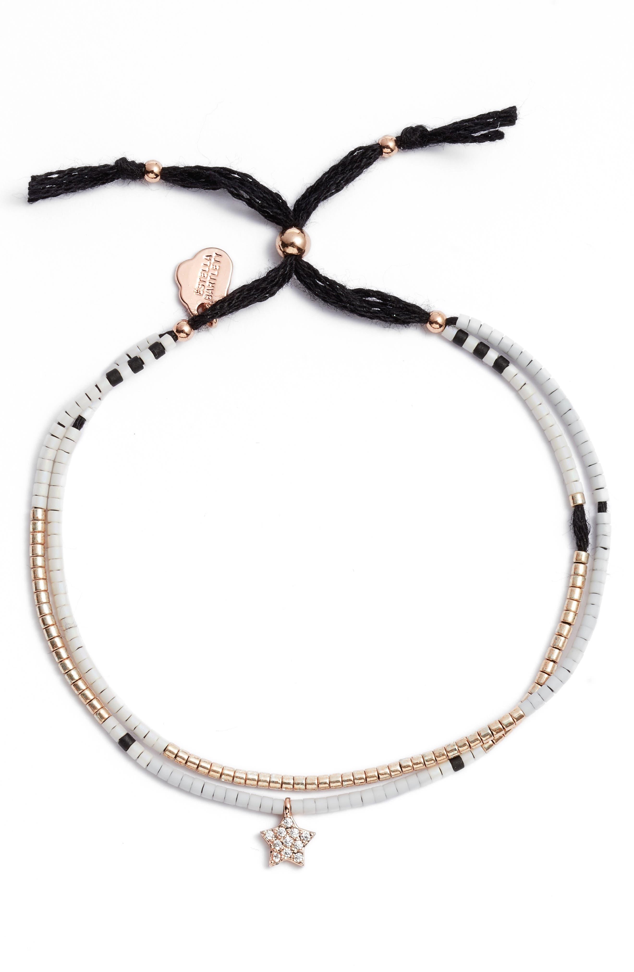 Phoebe Seed Bead Star Bracelet,                             Alternate thumbnail 2, color,                             GOLD