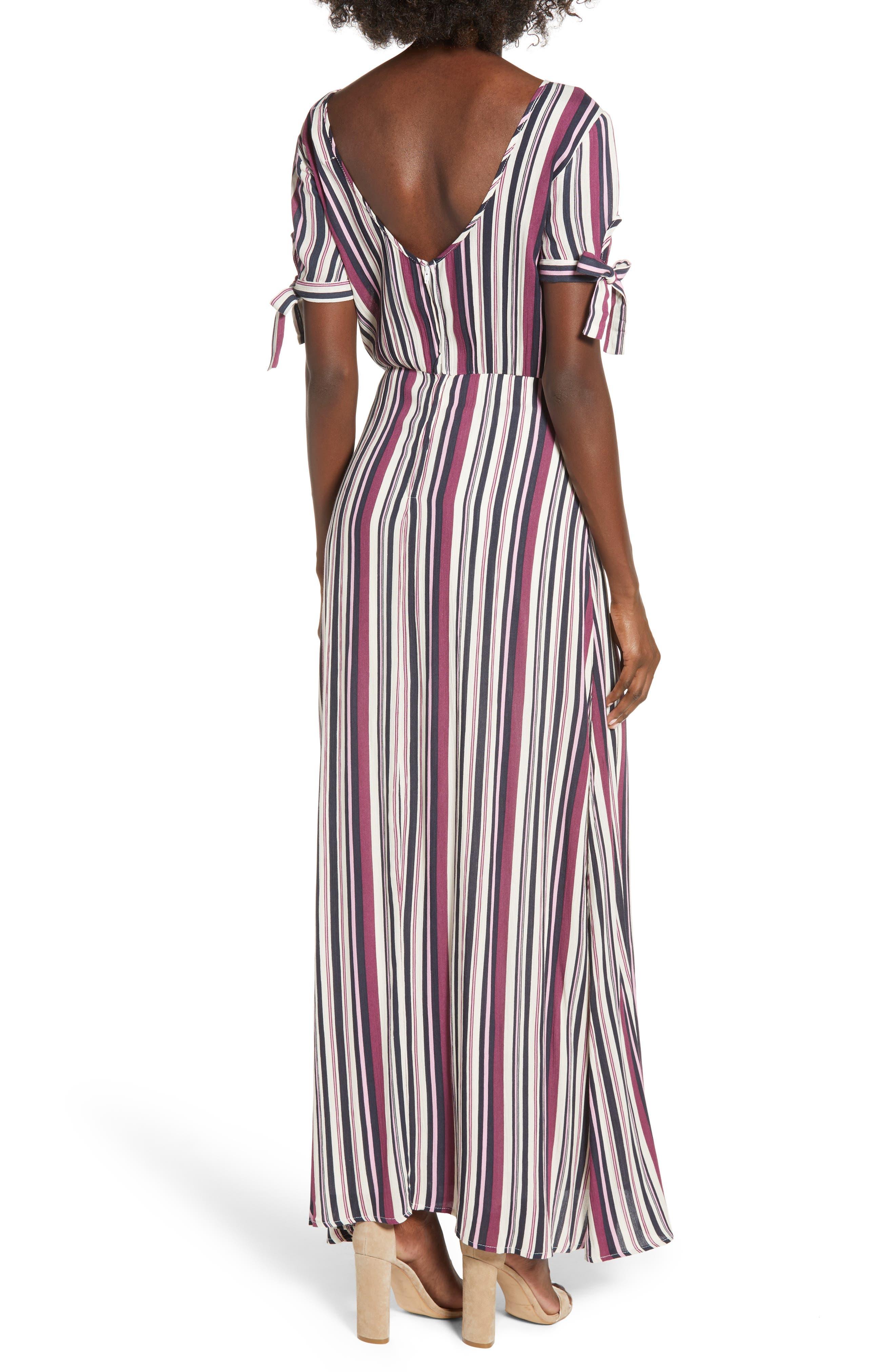 Tie Sleeve Maxi Dress,                             Alternate thumbnail 2, color,                             MULTI STRIPE
