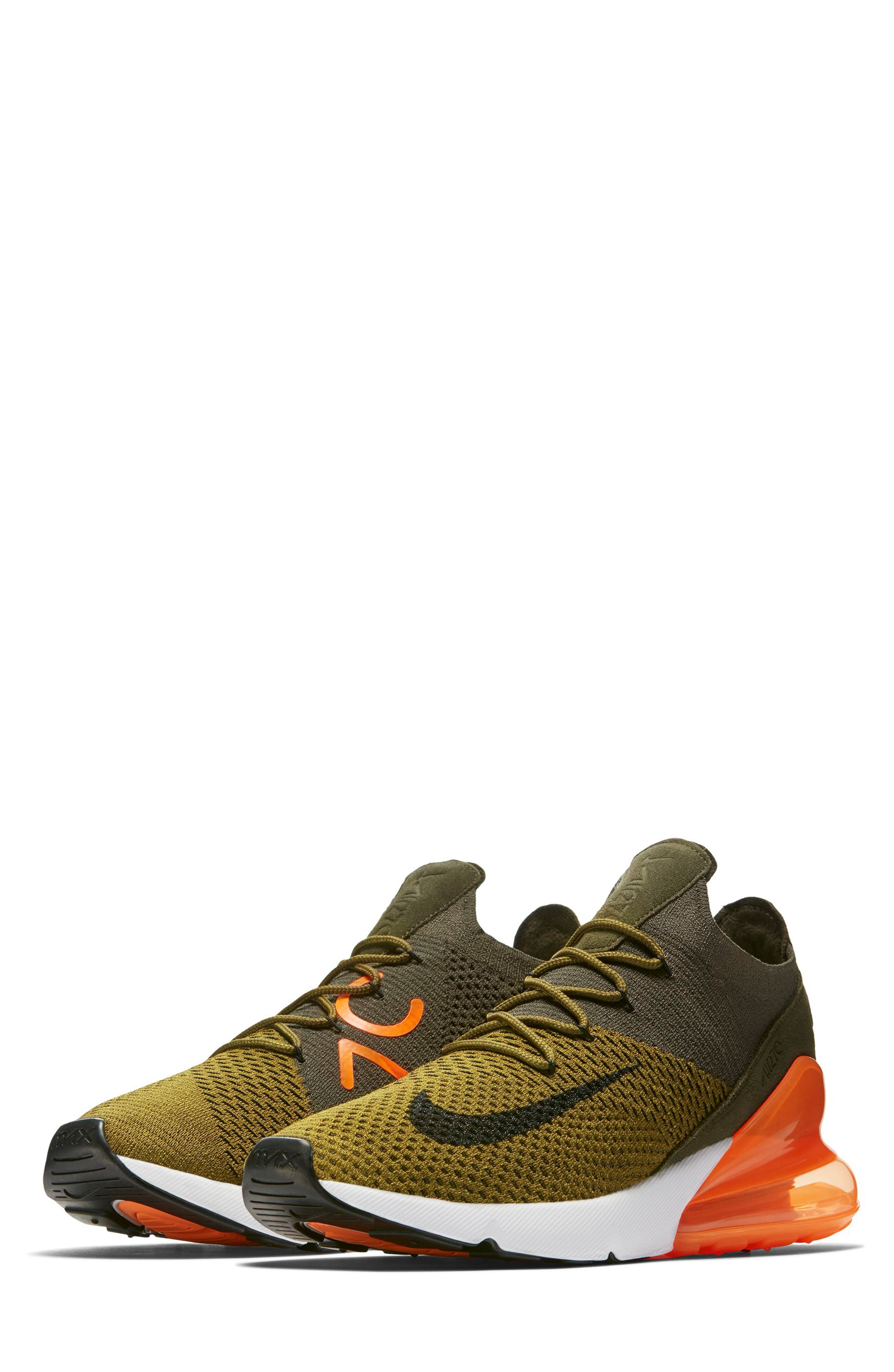 Air Max 270 Flyknit Sneaker,                         Main,                         color, OLIVE/ BLACK/ CARGO KHAKI