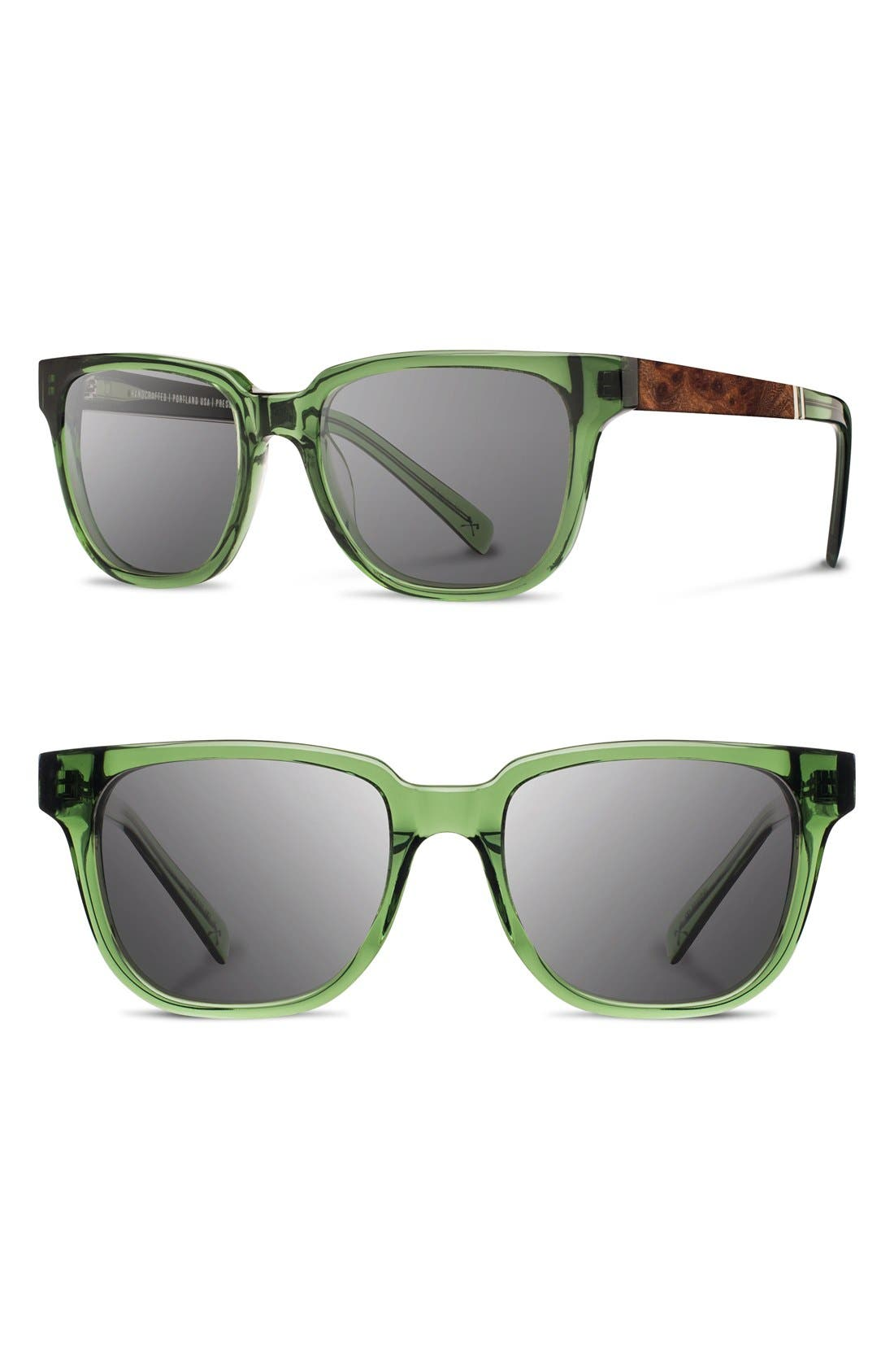 'Prescott' 52mm Acetate & Wood Sunglasses,                         Main,                         color, EMERALD/ ELM BURL/ GREY