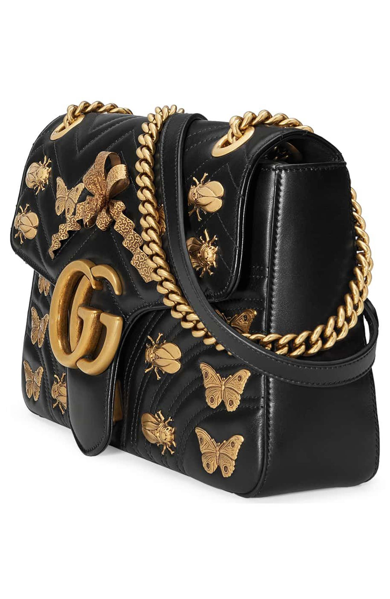 Medium GG Marmont 2.0 Animal Stud Matelassé Leather Shoulder Bag,                             Alternate thumbnail 4, color,                             001