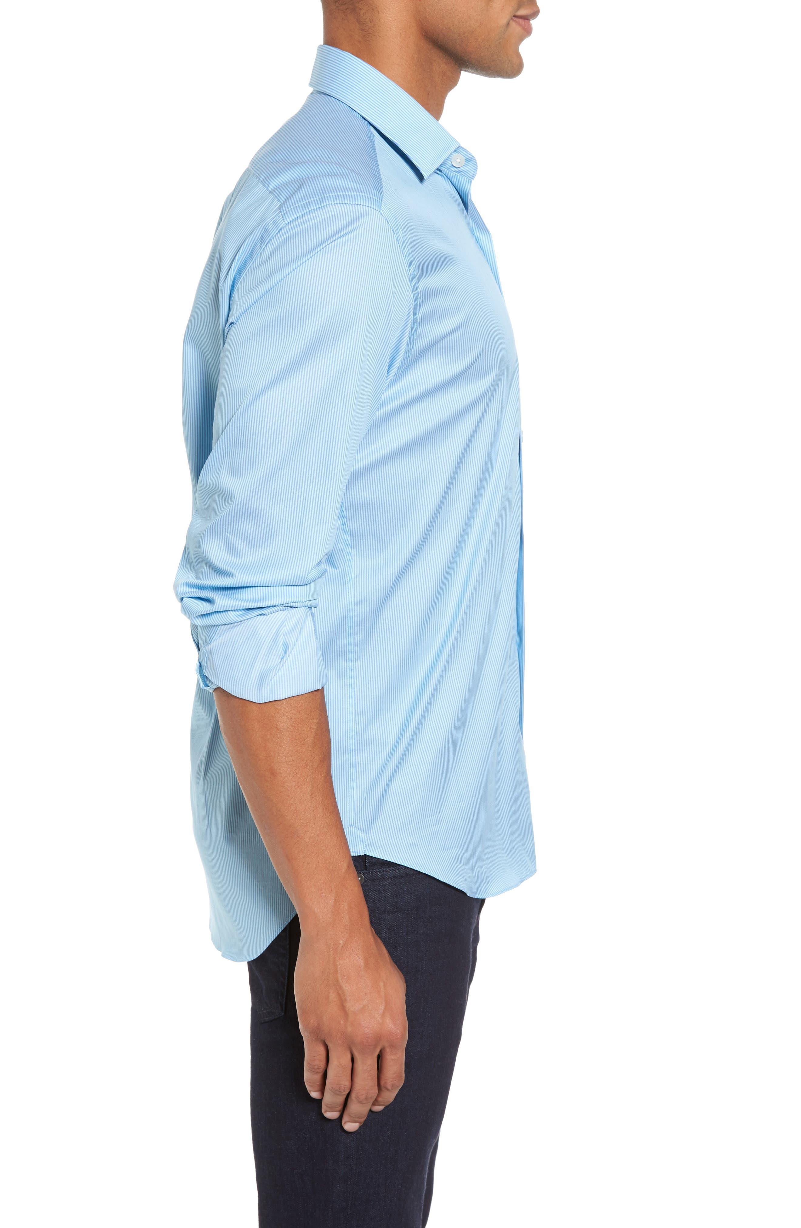 Slim Fit Stripe Twill Sport Shirt,                             Alternate thumbnail 3, color,
