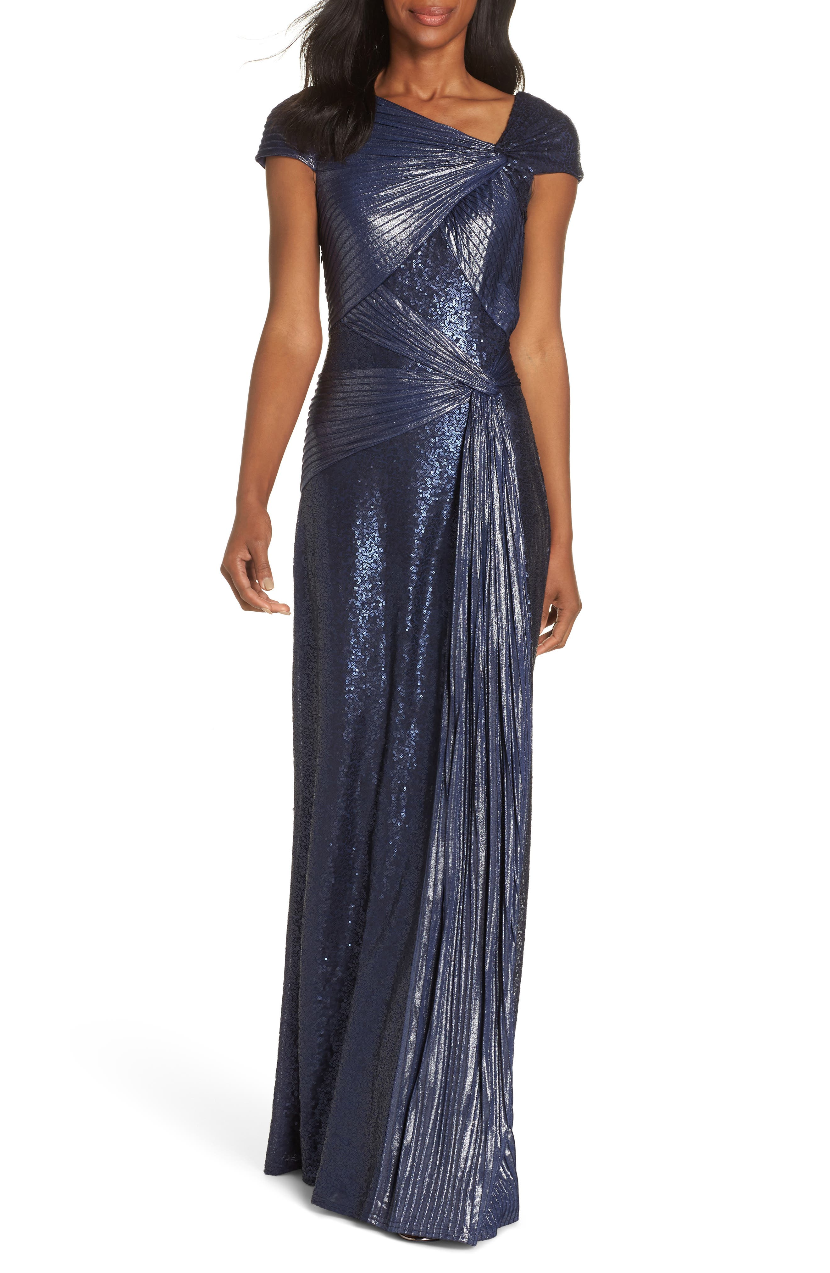 70s Prom, Formal, Evening, Party Dresses Womens Tadashi Shoji Pintuck Sequin Gown $548.00 AT vintagedancer.com