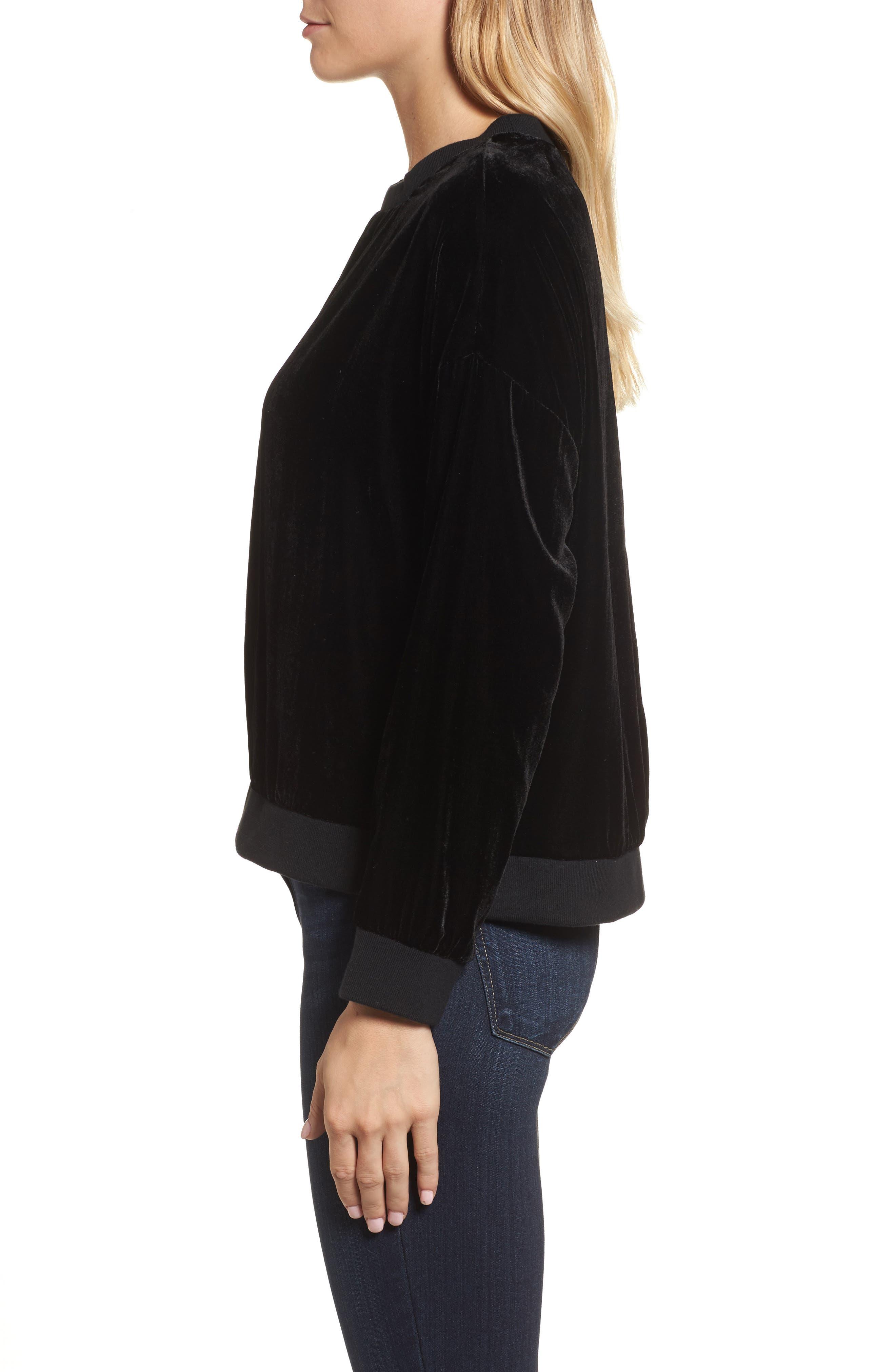 Zipper Velvet Sweatshirt,                             Alternate thumbnail 3, color,                             BLACK