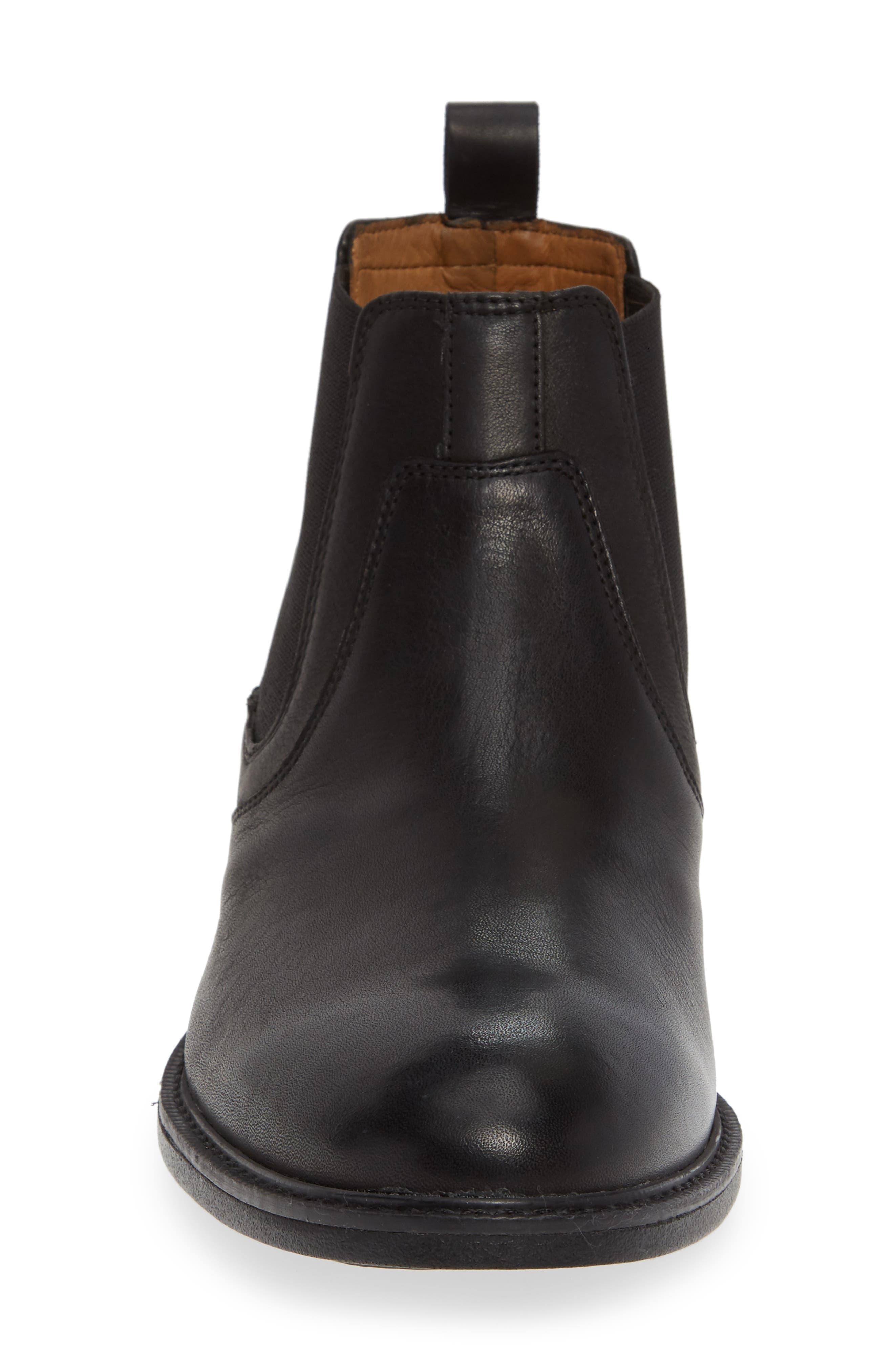 Hollis Waterproof Chelsea Boot,                             Alternate thumbnail 4, color,                             BLACK LEATHER