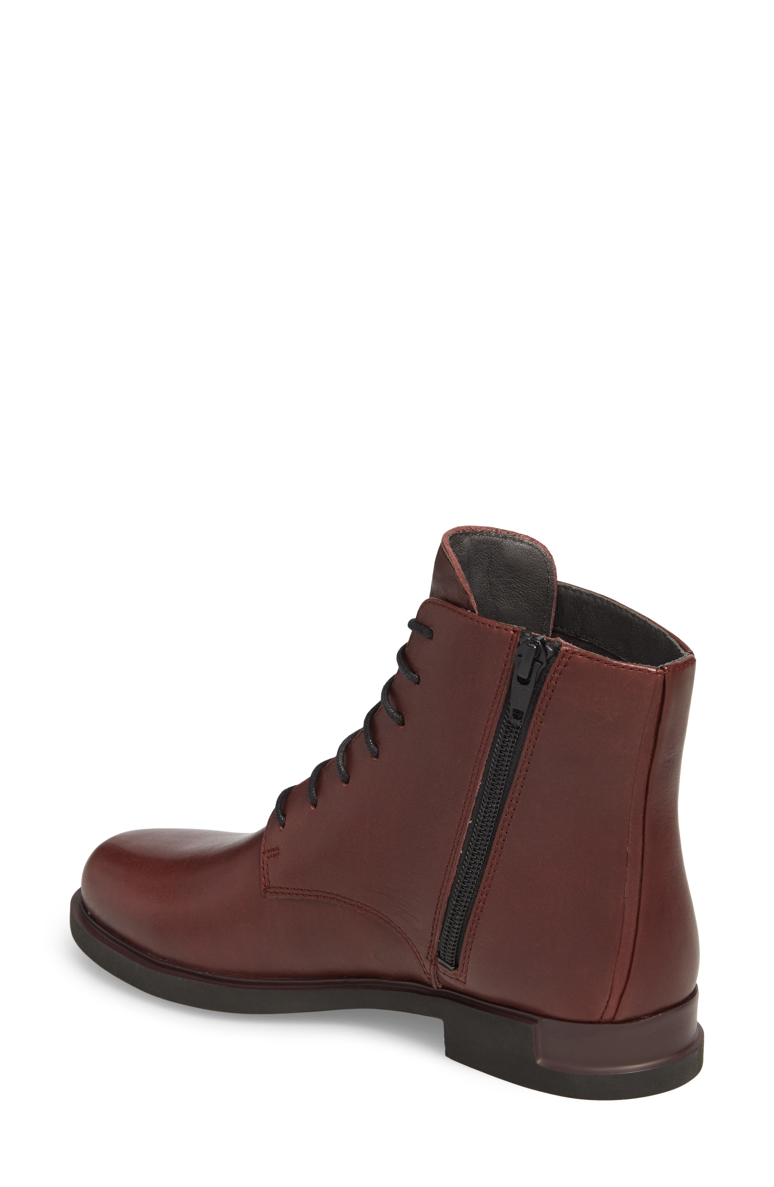 Helix Lace-Up Bootie,                             Alternate thumbnail 2, color,                             BURGUNDY LEATHER