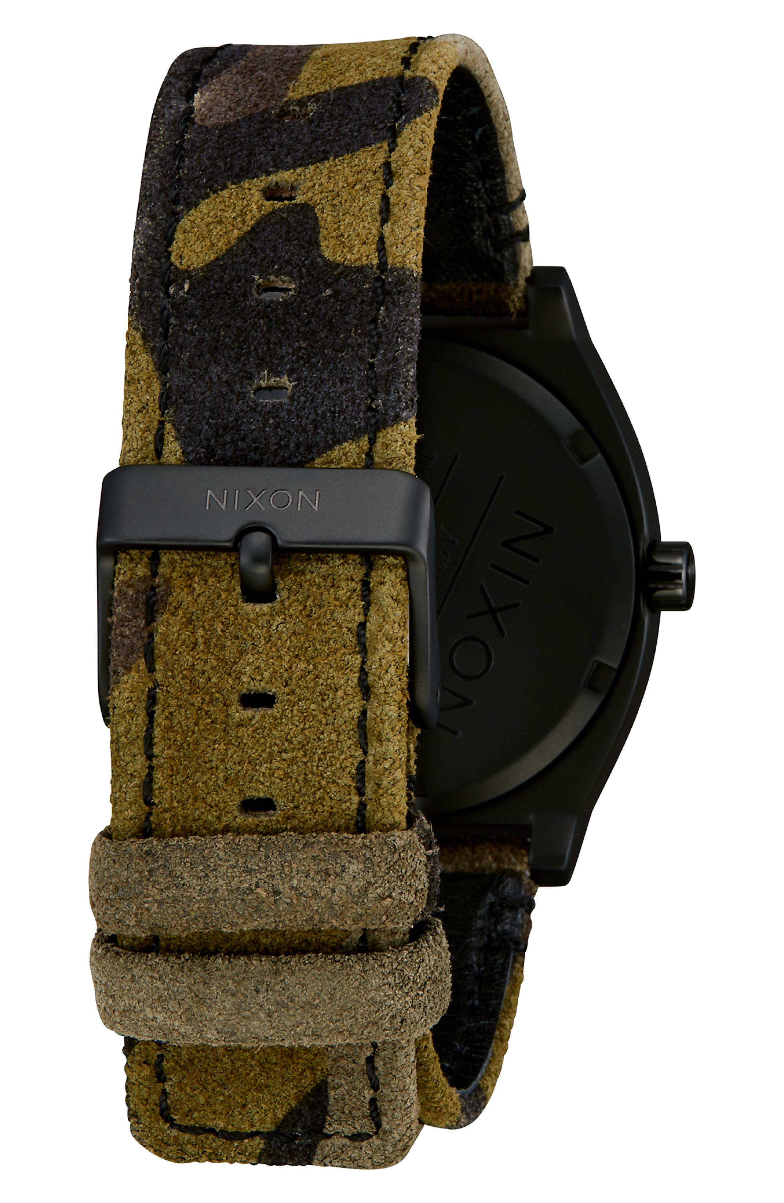 'The Time Teller' Leather Strap Watch, 37mm,                             Alternate thumbnail 2, color,                             CAMO/ BLACK