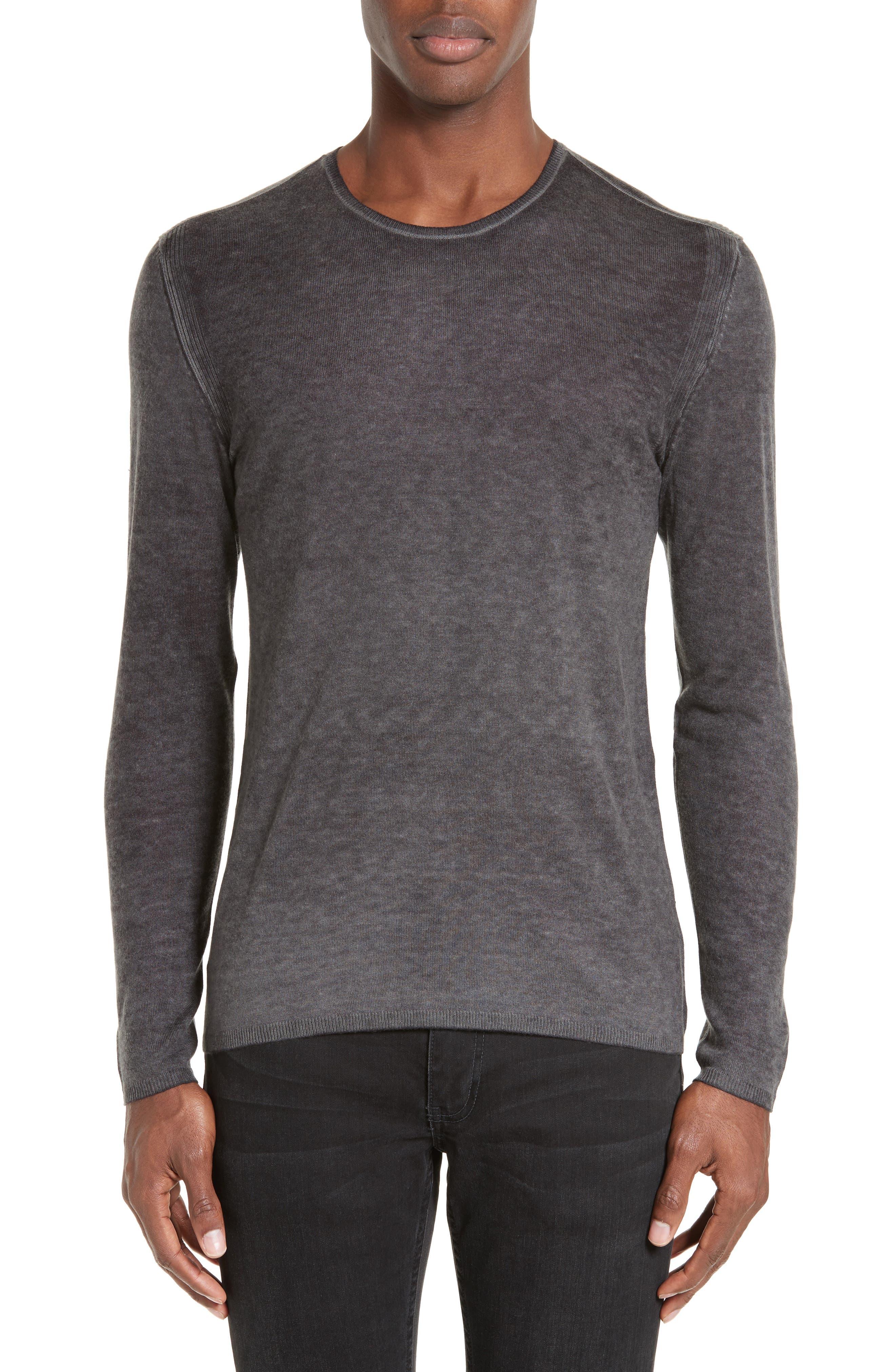 JOHN VARVATOS Silk & Cashmere Sweater, Main, color, MEDIUM GREY