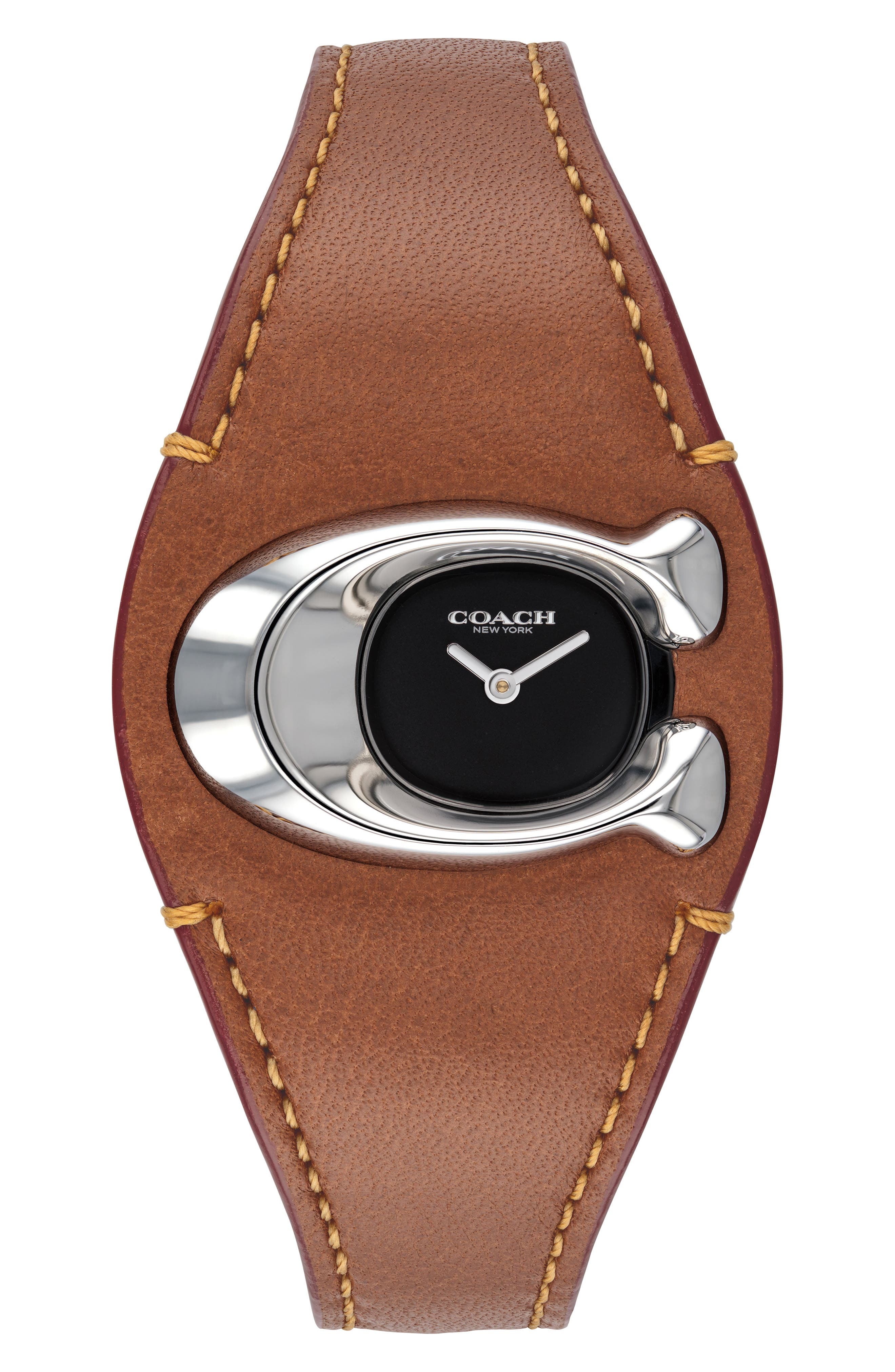 COACH,                             Signature C Leather Strap Watch, 29mm x 21mm,                             Main thumbnail 1, color,                             200