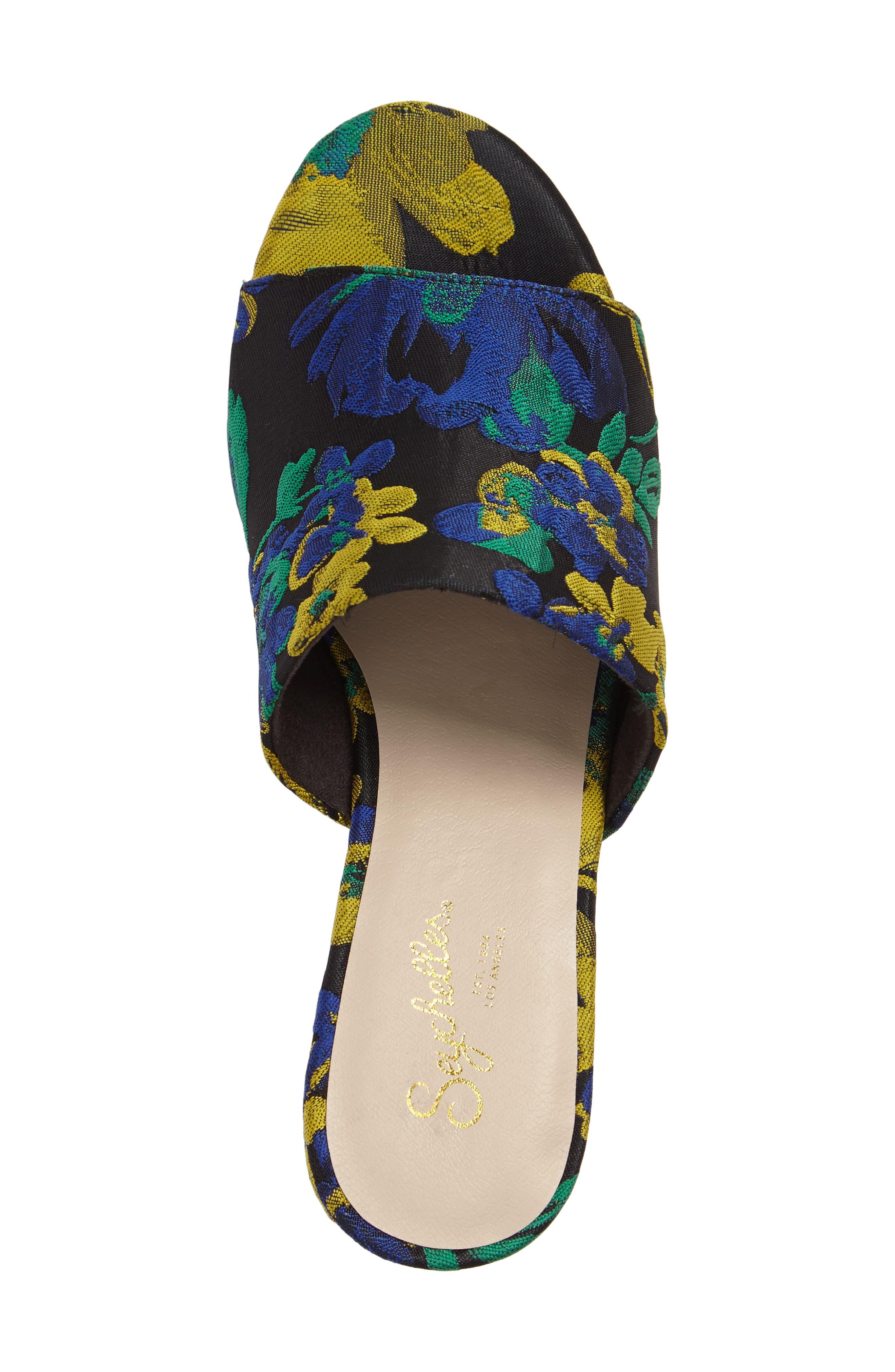 Commute Floral Flared Heel Sandal,                             Alternate thumbnail 5, color,                             002