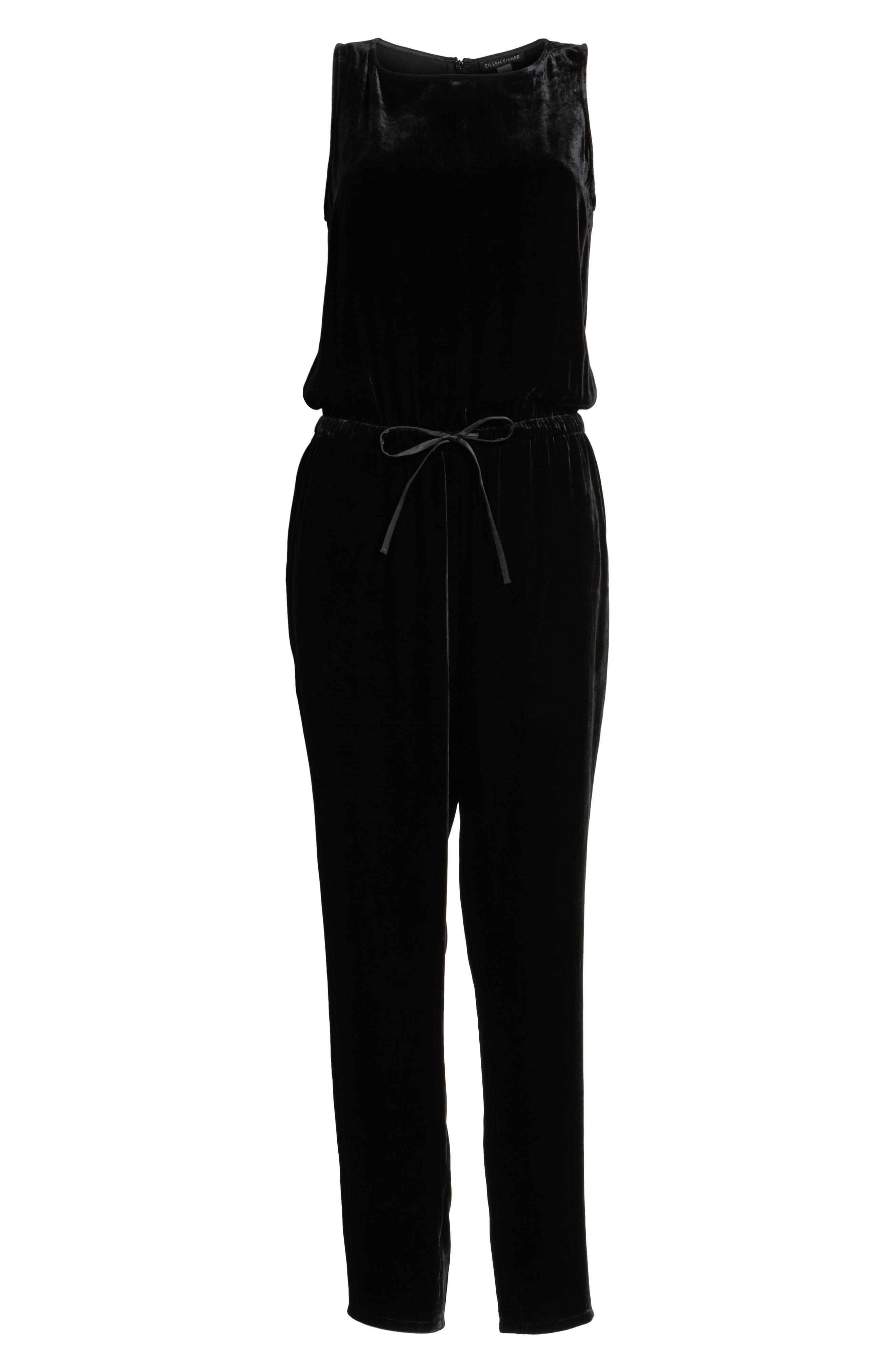 Slouchy Velvet Jumpsuit,                             Alternate thumbnail 6, color,                             001