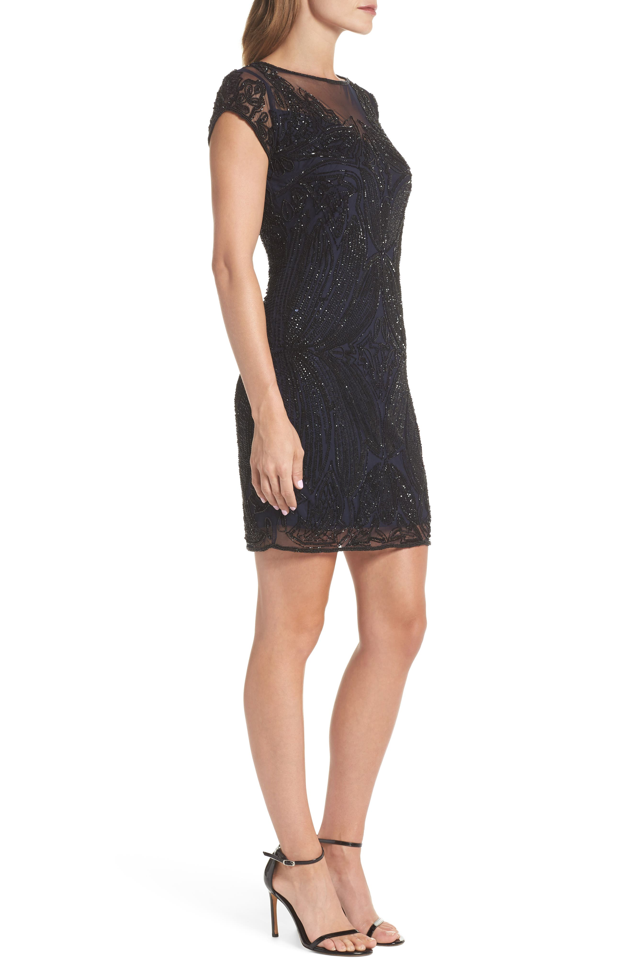 Beaded Illusion Yoke Sheath Dress,                             Alternate thumbnail 3, color,                             NAVY BLACK