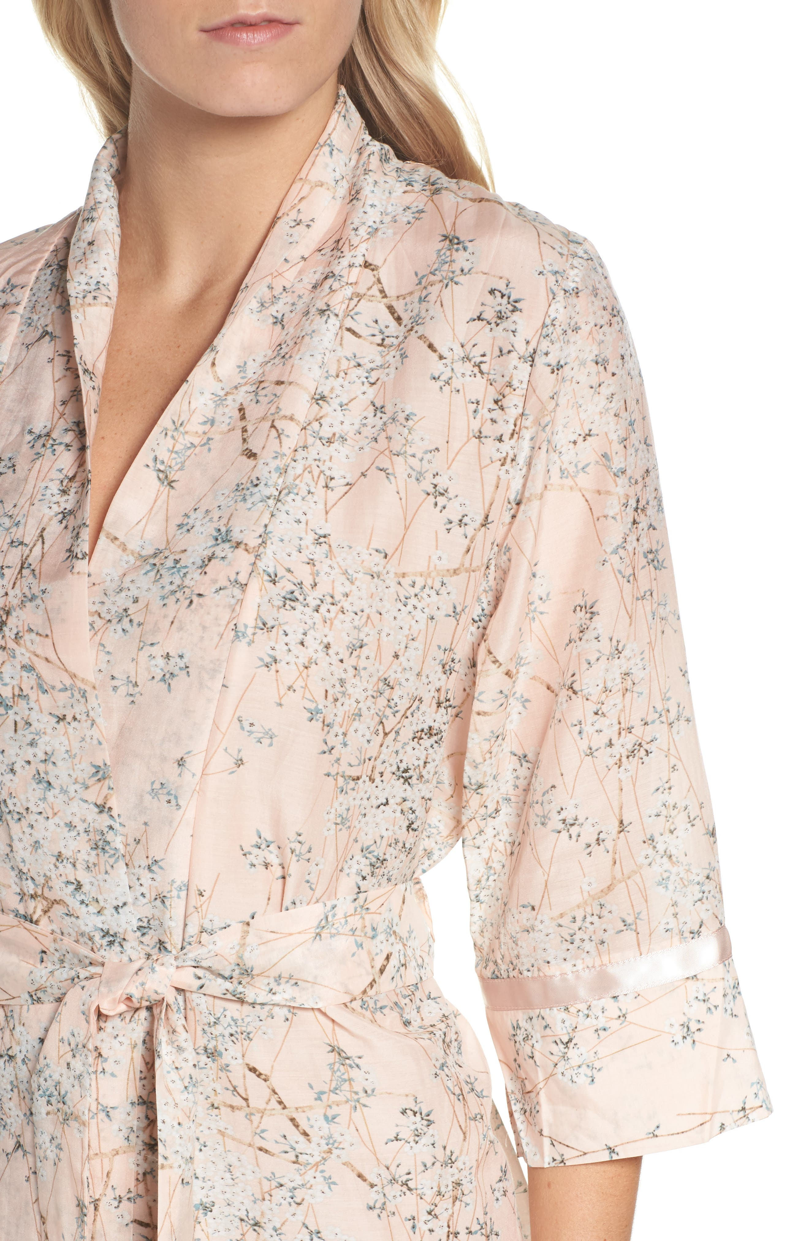PAPINELLE,                             Cherry Blossom Cotton & Silk Short Robe,                             Alternate thumbnail 4, color,                             950