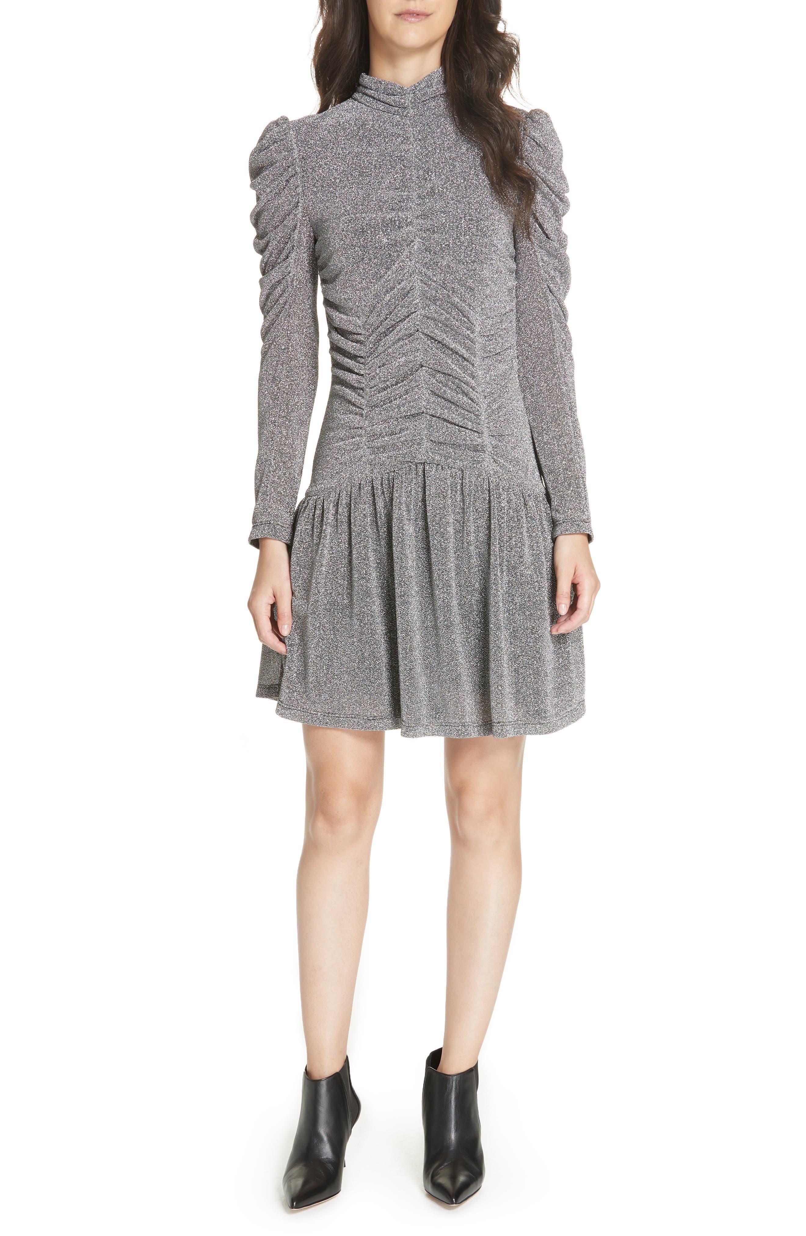Gathered Metallic Jersey Dress,                             Main thumbnail 1, color,                             SILVER