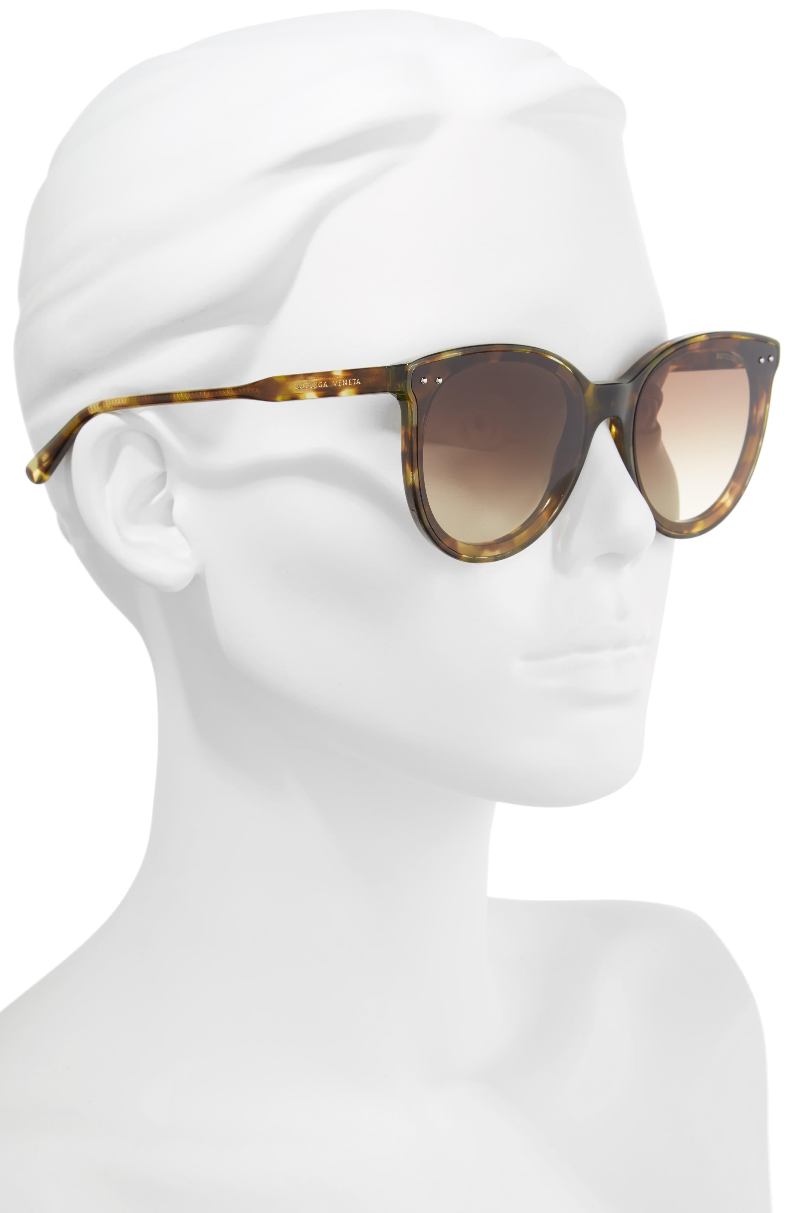 61mm Cat Eye Sunglasses,                             Alternate thumbnail 2, color,                             GREEN HAVANA