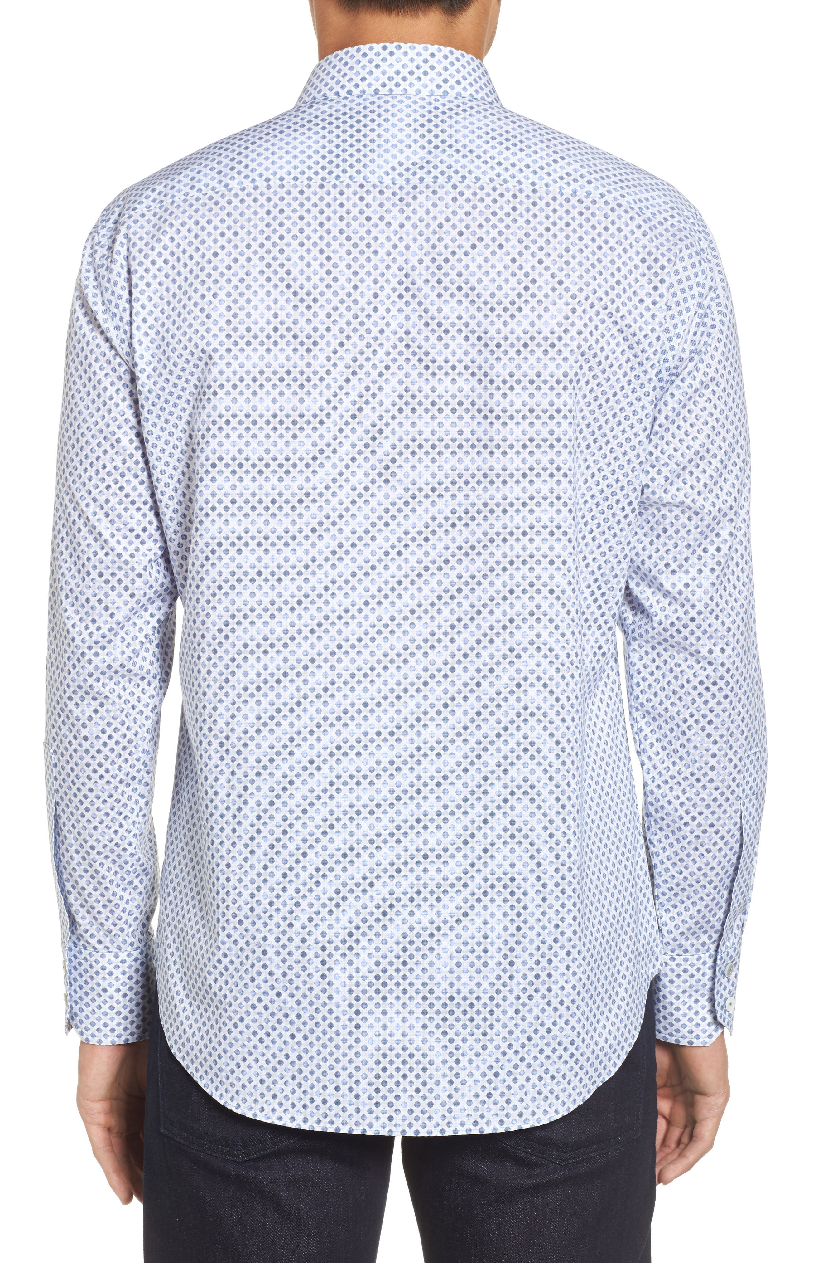 Obi Slim Fit Circle Print Sport Shirt,                             Alternate thumbnail 2, color,                             NAVY