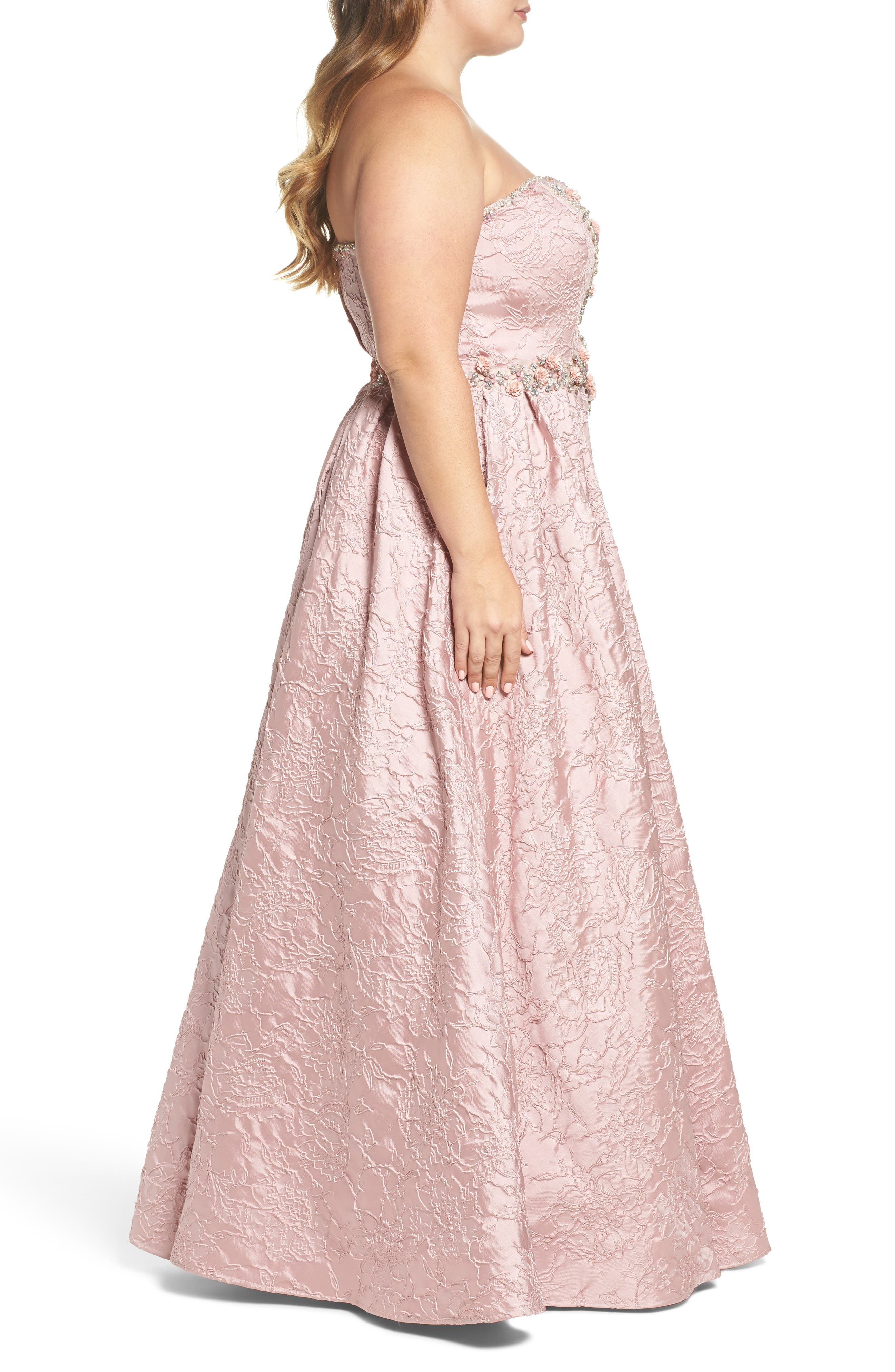 Bustier Strapless Flared Gown,                             Alternate thumbnail 3, color,                             ROSE