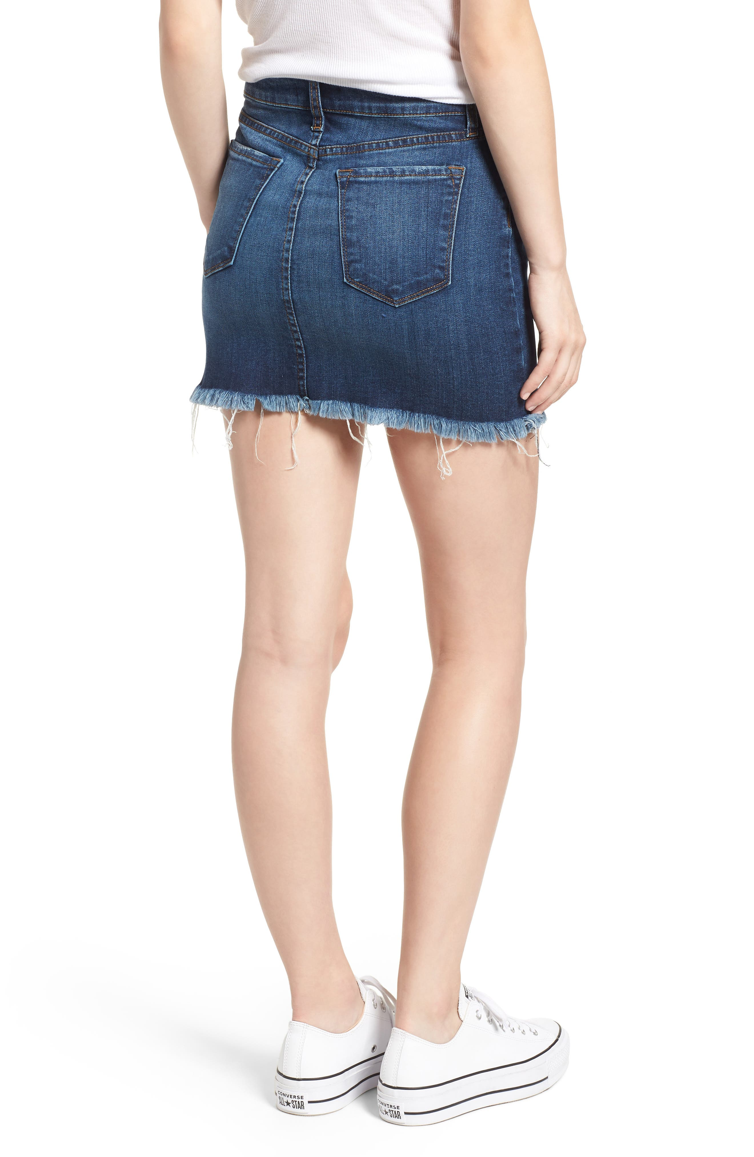 Raw Hem Denim Miniskirt,                             Alternate thumbnail 2, color,                             MEDIUM WASH
