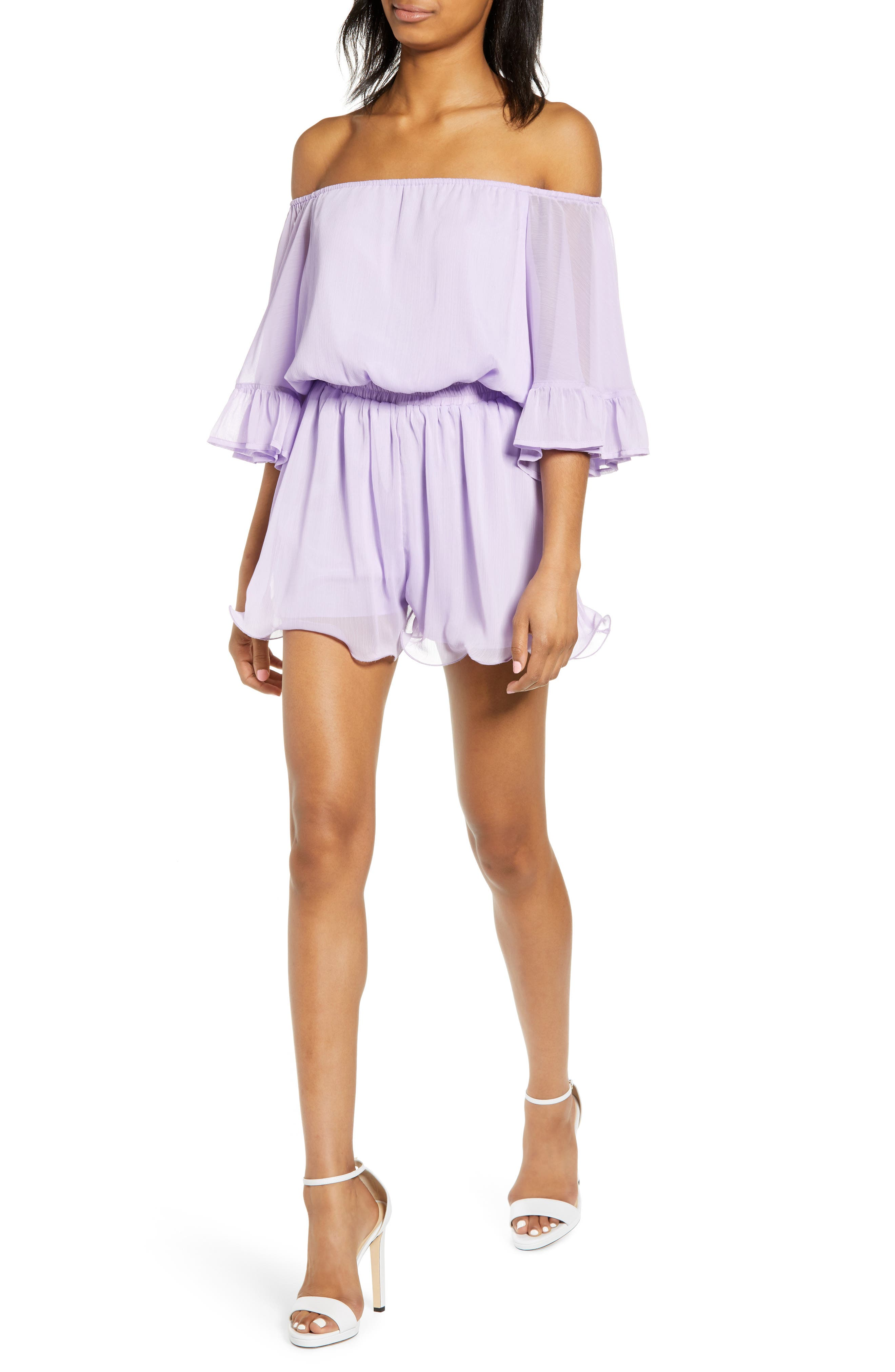 Endless Rose Tops OFF THE SHOULDER RUFFLE SLEEVE ROMPER