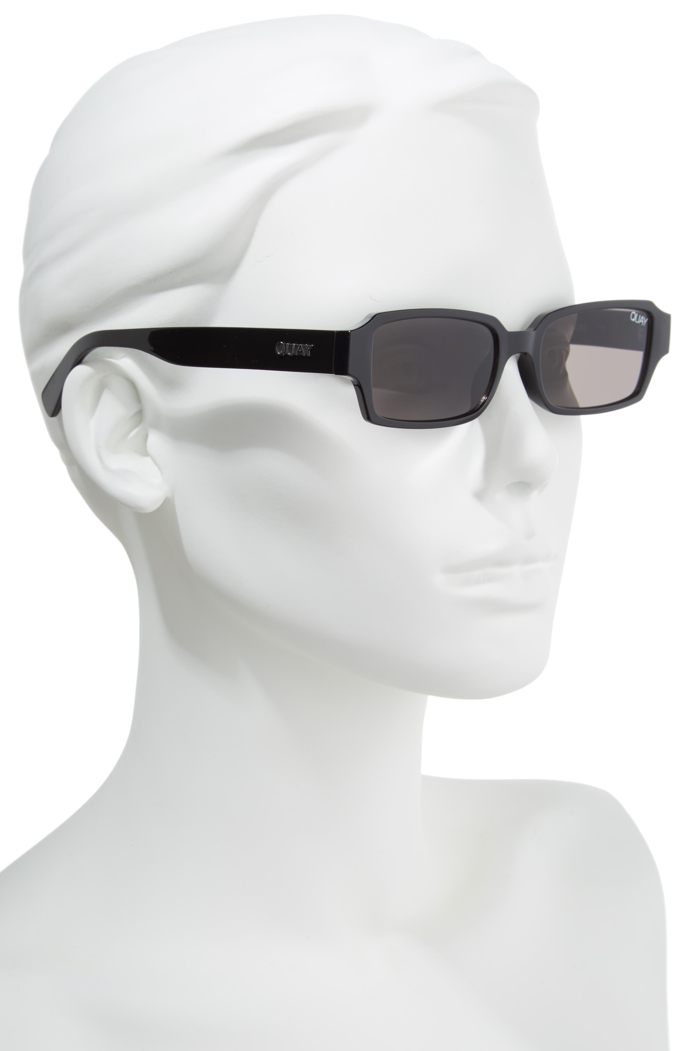 Strange Love 53mm Rectangle Sunglasses,                             Alternate thumbnail 2, color,                             BLACK/ SMOKE