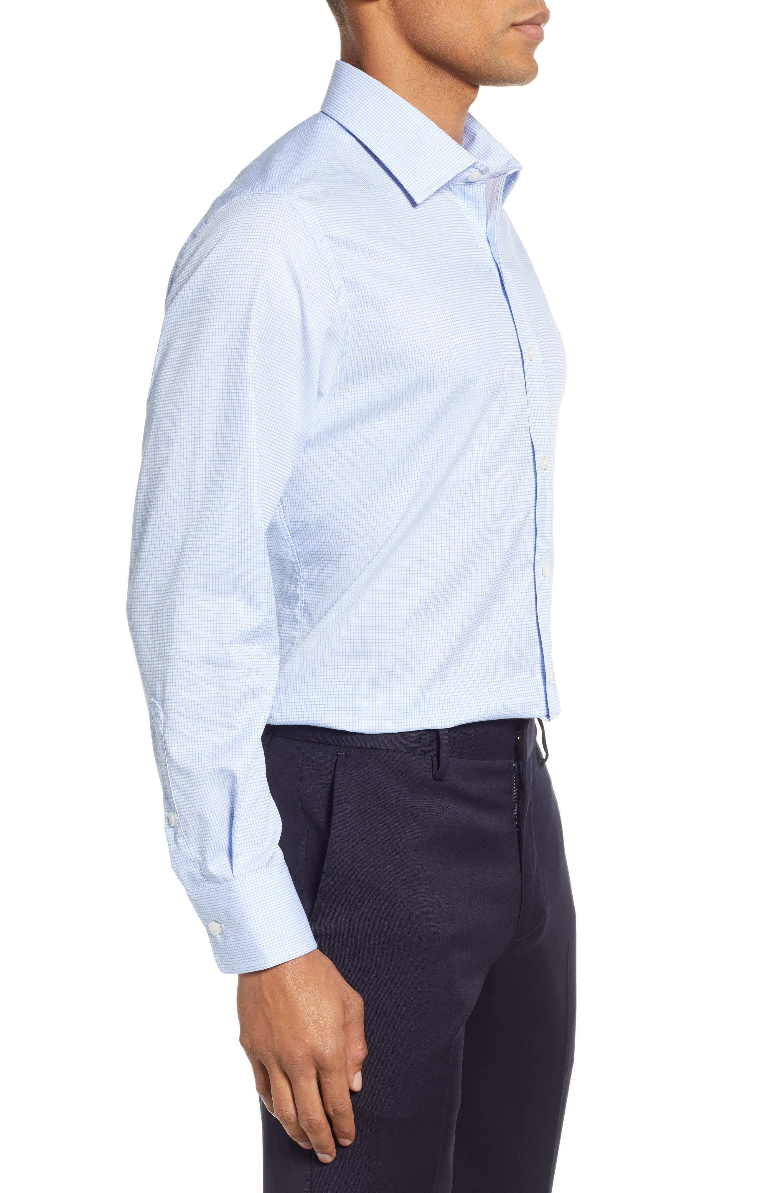 Classic Fit Check Dress Shirt,                             Alternate thumbnail 4, color,                             BLUE
