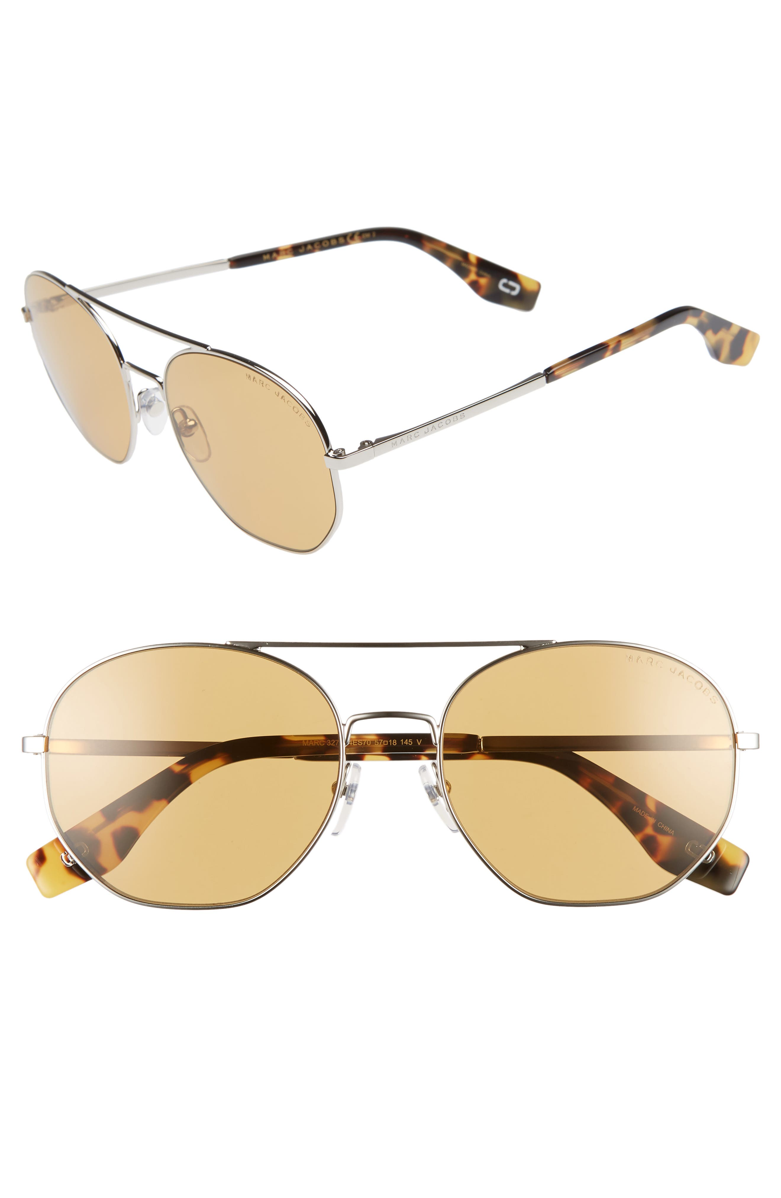 57mm Round Aviator Sunglasses,                             Main thumbnail 1, color,                             SILVER/ BROWN