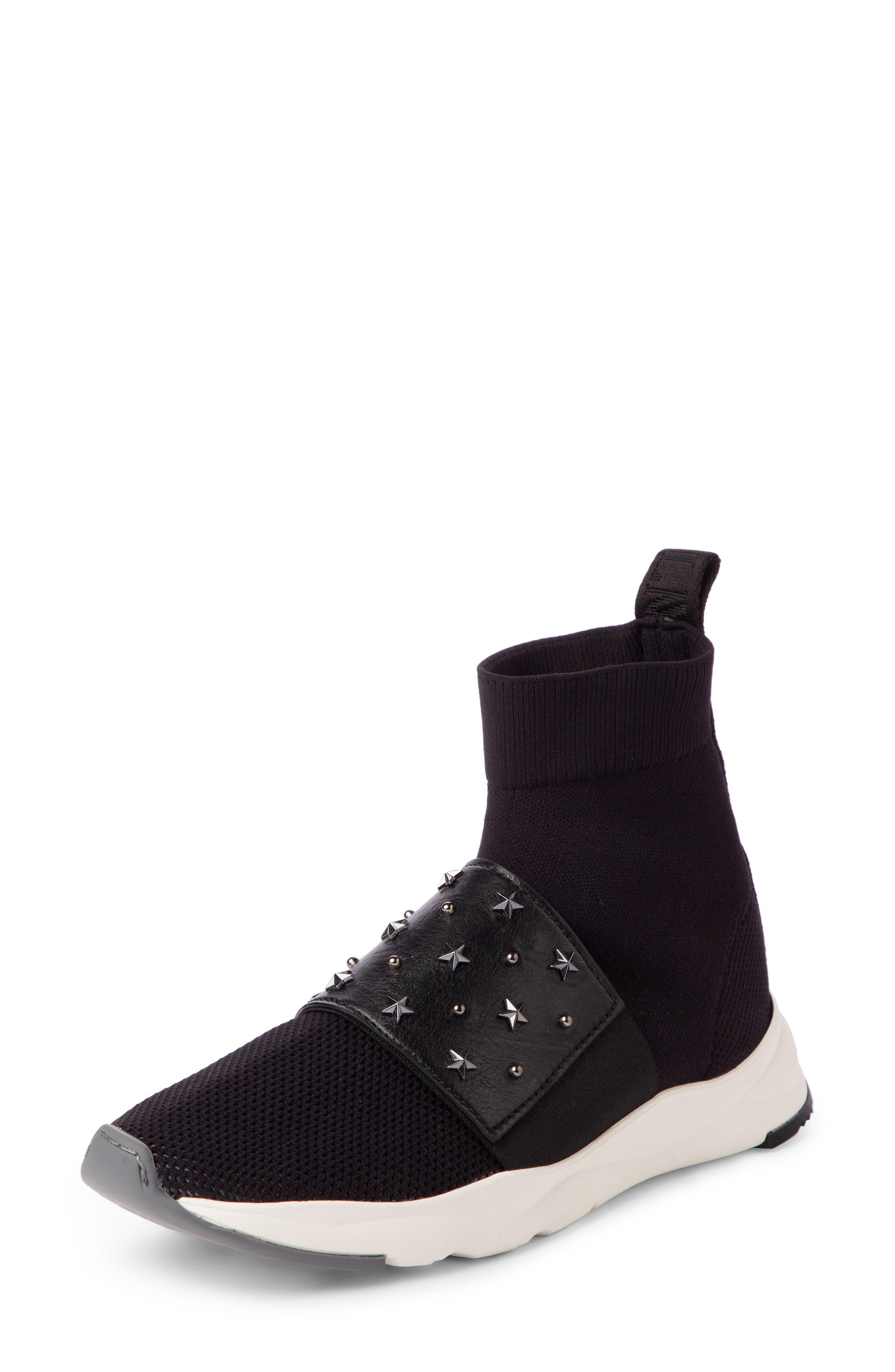 Cameron Studded Sock Sneaker,                         Main,                         color, BLACK